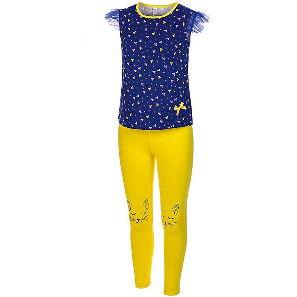 Комплект: футболка и леггинсы M&amp;D для девочкиКомплекты<br>Характеристики товара:<br><br>• цвет: синий<br>• комплектация: футболка и леггинсы<br>• состав: 100% хлопок<br>• сезон: лето<br>• короткие рукава<br>• декор: принт, бант<br>• пояс: резинка<br>• страна бренда: Россия<br>• страна производства: Россия<br><br>Хлопковый комплект для ребенка отличается оригинальным принтом. Комплект: футболка и леггинсы M&amp;D для девочки легко надевается благодаря эластичному материалу. Детский хлопковый комплект отлично подходит для ношения в теплую погоду. <br><br>Комплект: футболка и леггинсы M&amp;D для девочки можно купить в нашем интернет-магазине.<br><br>Ширина мм: 123<br>Глубина мм: 10<br>Высота мм: 149<br>Вес г: 209<br>Цвет: белый<br>Возраст от месяцев: 36<br>Возраст до месяцев: 48<br>Пол: Женский<br>Возраст: Детский<br>Размер: 104,110<br>SKU: 7012581