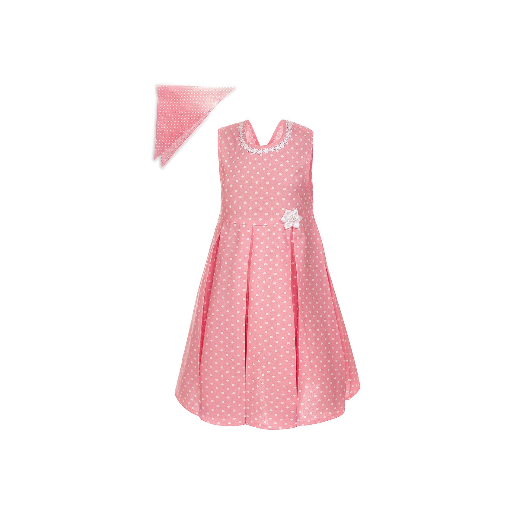 Платье M&amp;D для девочкиПлатья и сарафаны<br>Платье-сарафан для девочки из текстильного полотна.<br>С V-образным вырезом по спинке,с поясом.<br>В комплекте с косынкой.Декорировано кружевной тесьмой.<br>Соответствует размеру.<br>Рекомендуется предварительная стирка.<br>Состав:<br>100% хлопок<br><br>Ширина мм: 236<br>Глубина мм: 16<br>Высота мм: 184<br>Вес г: 177<br>Цвет: розовый<br>Возраст от месяцев: 24<br>Возраст до месяцев: 36<br>Пол: Женский<br>Возраст: Детский<br>Размер: 98,104,110,116,122<br>SKU: 7012640