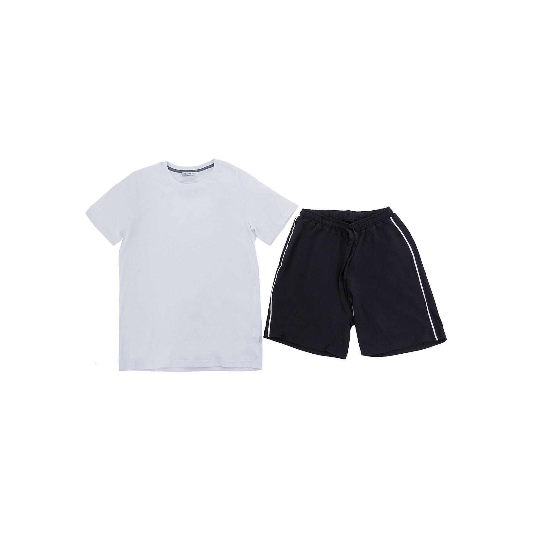 Комплект: футболка и шорты Nota Bene для мальчикаСпортивная форма<br>Комплект для мальчика:футболка и шорты. Соответствует размеру.<br>Состав:<br>95% хлопок; 5% лайкра<br><br>Ширина мм: 191<br>Глубина мм: 10<br>Высота мм: 175<br>Вес г: 273<br>Цвет: белый<br>Возраст от месяцев: 144<br>Возраст до месяцев: 156<br>Пол: Мужской<br>Возраст: Детский<br>Размер: 158<br>SKU: 7012671