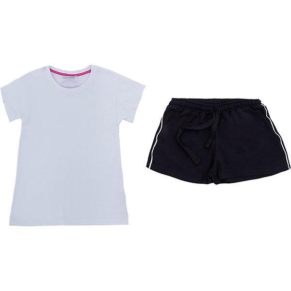 Комплект: футболка и шорты Nota Bene для девочкиСпортивная форма<br>Характеристики товара:<br><br><br>• цвет: белый, черный<br>• комплектация: футболка и шорты <br>• состав: 100% хлопок<br>• сезон: лето<br>• особенности модели: спортивный стиль<br>• короткие рукава<br>• пояс: резинка, шнурок<br>• страна бренда: Россия<br>• страна производства: Россия<br><br>Трикотажный комплект для девочки сделан из натурального хлопка. Комплект: футболка и шорты M&amp;D для девочки легко надевается благодаря эластичному трикотажу. Детский комплект аккуратно смотрится и комфортно сидит по фигуре. <br><br>Комплект: футболка и шорты Nota Bene для девочки можно купить в нашем интернет-магазине.<br>Ширина мм: 191; Глубина мм: 10; Высота мм: 175; Вес г: 273; Цвет: белый; Возраст от месяцев: 156; Возраст до месяцев: 168; Пол: Женский; Возраст: Детский; Размер: 164,152; SKU: 7012673;