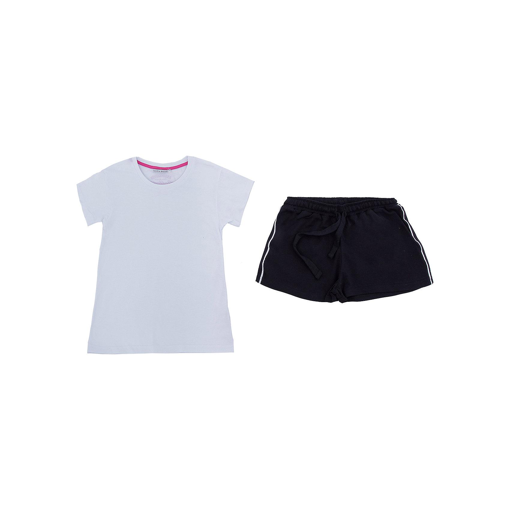 Комплект: футболка и шорты Nota Bene для девочкиСпортивная форма<br>Характеристики товара:<br><br><br>• цвет: белый, черный<br>• комплектация: футболка и шорты <br>• состав: 100% хлопок<br>• сезон: лето<br>• особенности модели: спортивный стиль<br>• короткие рукава<br>• пояс: резинка, шнурок<br>• страна бренда: Россия<br>• страна производства: Россия<br><br>Трикотажный комплект для девочки сделан из натурального хлопка. Комплект: футболка и шорты M&amp;D для девочки легко надевается благодаря эластичному трикотажу. Детский комплект аккуратно смотрится и комфортно сидит по фигуре. <br><br>Комплект: футболка и шорты Nota Bene для девочки можно купить в нашем интернет-магазине.<br><br>Ширина мм: 191<br>Глубина мм: 10<br>Высота мм: 175<br>Вес г: 273<br>Цвет: белый<br>Возраст от месяцев: 132<br>Возраст до месяцев: 144<br>Пол: Женский<br>Возраст: Детский<br>Размер: 152,164<br>SKU: 7012673