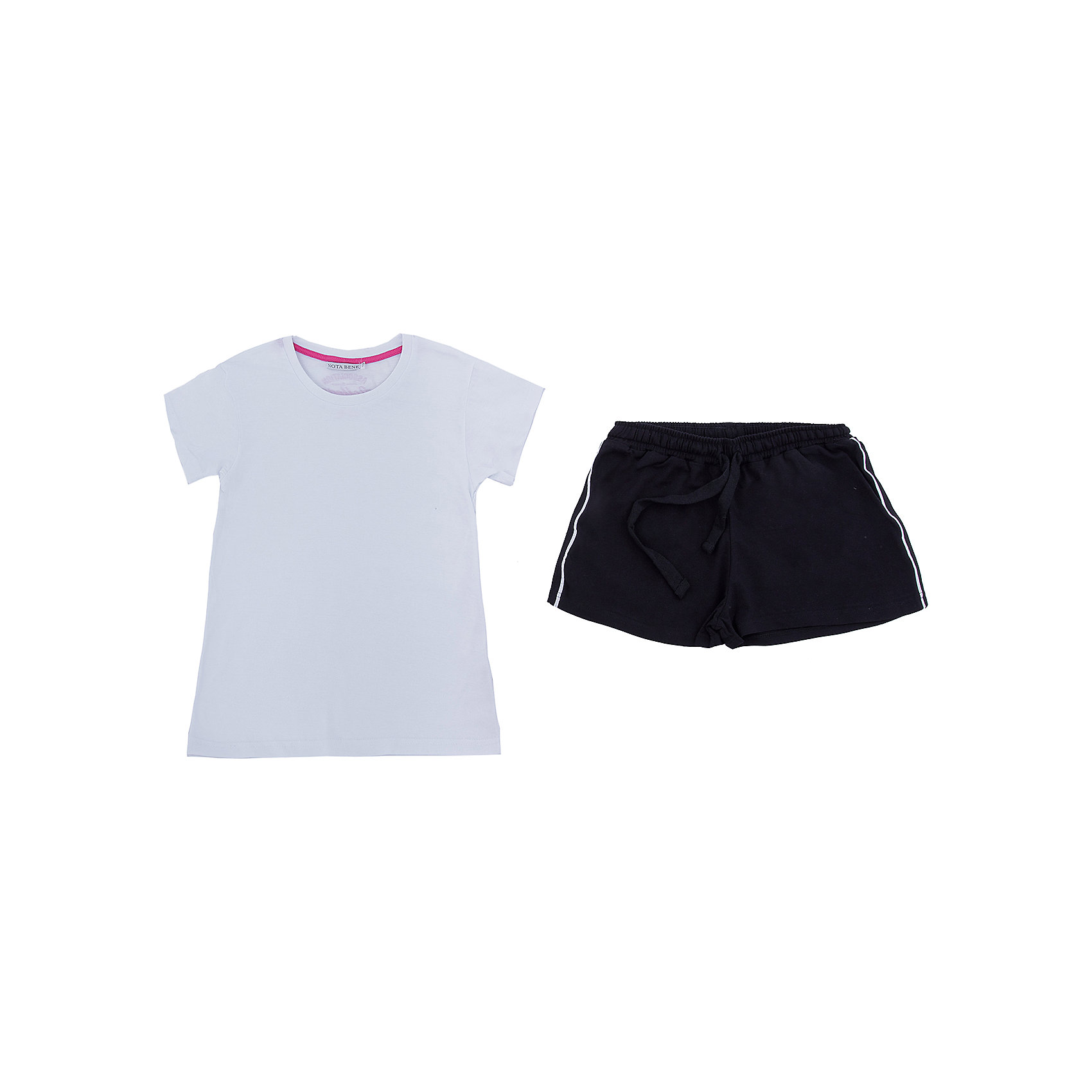 Комплект: футболка и шорты Nota Bene для девочкиКомплекты<br>Комплект для девочки:футболка и шорты. Соответствует размеру.<br>Состав:<br>95% хлопок; 5% лайкра<br><br>Ширина мм: 191<br>Глубина мм: 10<br>Высота мм: 175<br>Вес г: 273<br>Цвет: белый<br>Возраст от месяцев: 156<br>Возраст до месяцев: 168<br>Пол: Женский<br>Возраст: Детский<br>Размер: 164,152<br>SKU: 7012673