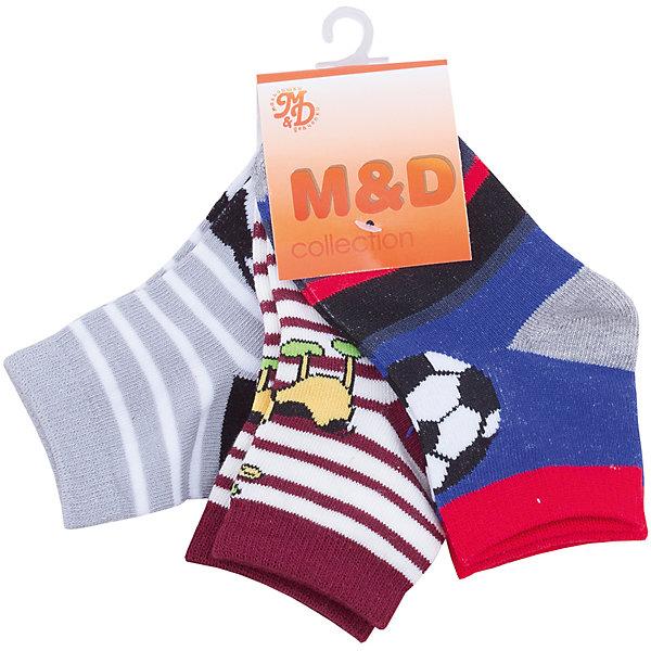 Носки M&amp;D для мальчикаНоски<br>Характеристики товара:<br><br>• цвет: мульти<br>• комплектация: 3 пары<br>• состав: 85% хлопок, 12% полиэстер, 3% эластан<br>• сезон: круглый год<br>• страна бренда: Россия<br>• страна производства: Россия<br><br>Такие носки для ребенка сделаны из мягкого трикотажа с преобладанием в составе натурального хлопка. Носки для мальчика от M&amp;D оригинально смотрится благодаря принту. Детские носки помогут создать ребенку комфорт. <br><br>Носки M&amp;D для мальчика можно купить в нашем интернет-магазине.<br><br>Ширина мм: 87<br>Глубина мм: 10<br>Высота мм: 105<br>Вес г: 115<br>Цвет: разноцветный<br>Возраст от месяцев: 12<br>Возраст до месяцев: 36<br>Пол: Мужской<br>Возраст: Детский<br>Размер: 35<br>SKU: 7012695