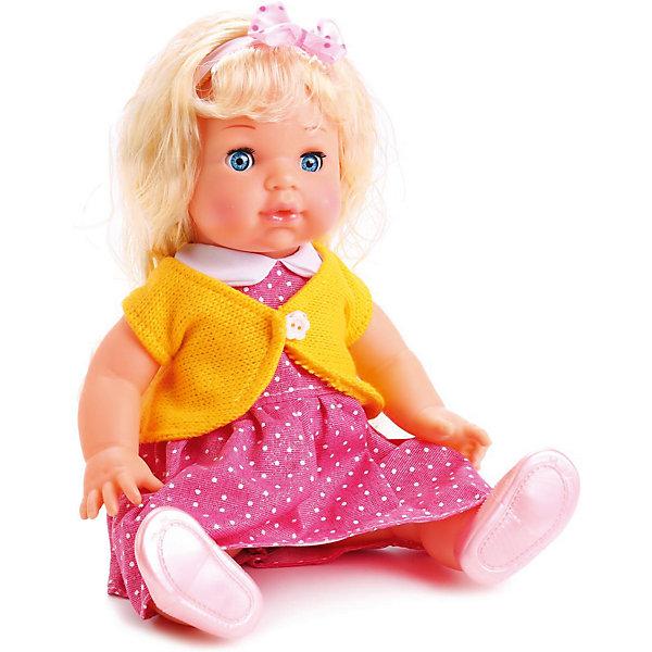 Кукла Карапуз Полина, озвученная с аксессуарами, 35 смБренды кукол<br>Характеристики товара:<br><br>• высота куклы: 35 см;<br>• возраст: от 3 лет;<br>• материал: пластик, текстиль, металл;<br>• работает от батареек (в комплекте);<br>• размер упаковки: 10х37х20 см;<br>• страна бренда: Россия.<br><br>Кукла Полина станет лучшей подружкой девочки, ведь она очень милая и, к тому же, интересная. Игрушка имеет встроенный звуковой модуль, который воспроизводит стихи и песню Агнии Барто. Кукла одета в розовый сарафан в горошек и жёлтый кардиган. На ногах Полины стильные сандалики. Светлые волосы куклы украшены розовым бантиком. В комплект входит очаровательный кулон, который станет главным талисманом Полины.<br><br>Куклу Карапуз «Полина», озвученную с аксессуарами, 35 см можно купить в нашем интернет-магазине.<br>Ширина мм: 360; Глубина мм: 100; Высота мм: 200; Вес г: 700; Возраст от месяцев: 36; Возраст до месяцев: 60; Пол: Женский; Возраст: Детский; SKU: 7014444;