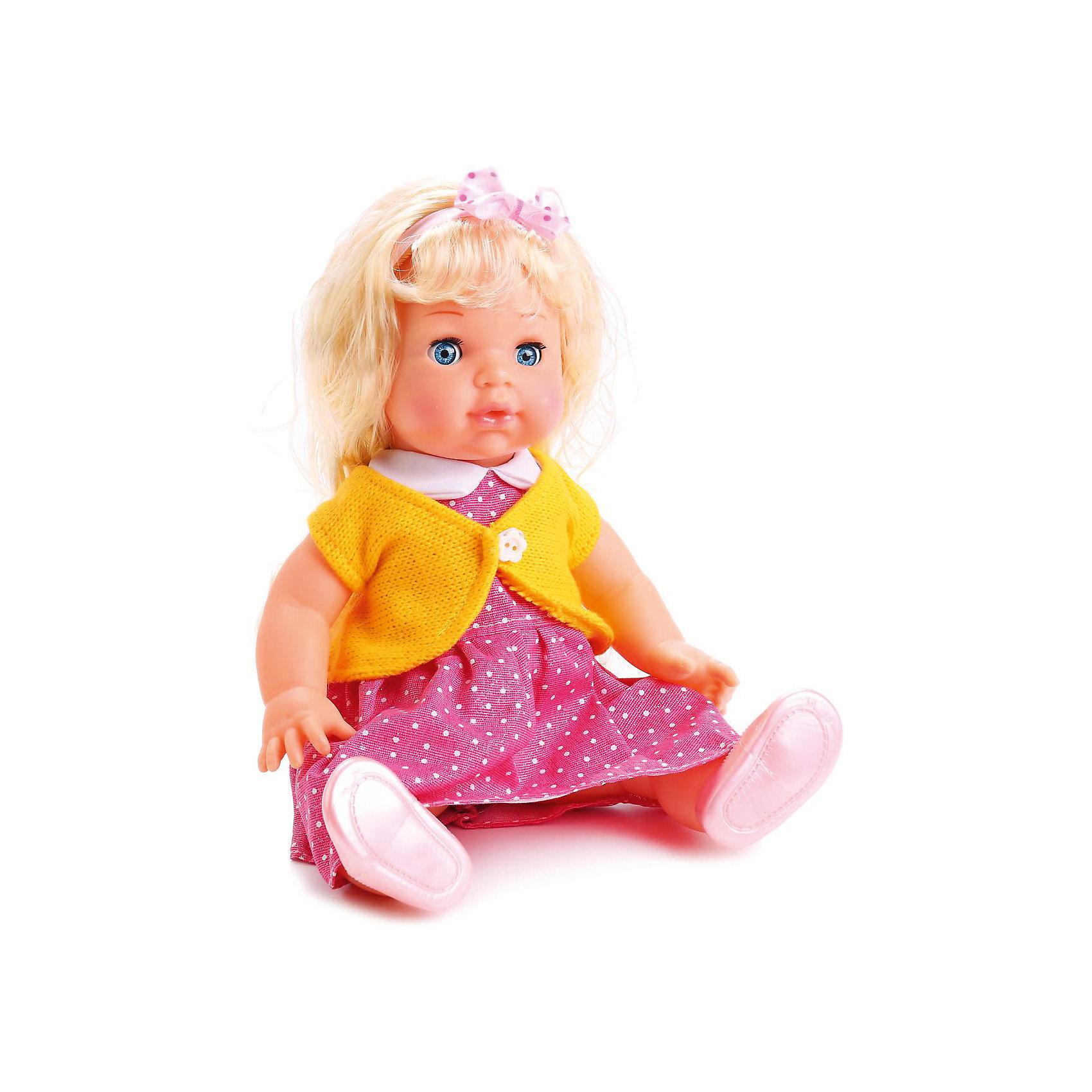 Кукла Карапуз Полина, озвученная с аксессуарами, 35 смКлассические куклы<br>Кукла Полина высотой 35 см представляет собой реалистично выполненную маленькую девочку с длинными светлыми волосами, одетую в оригинальный наряд. Ей можно менять прическу и расчёсывать волосы с помощью расчёчки, которая входит в комплект. Также в подарок к кукле идёт кулон, который сможет носить будущая хозяйка игрушки. Полина закрывает глазки, если ее баюкать, укладывая спать, а также умеет разговаривать - кукла декламирует стих и поет песенку авторства Агнии Барто. Рекомендованно детям от 3-х лет.<br><br>Ширина мм: 360<br>Глубина мм: 100<br>Высота мм: 200<br>Вес г: 700<br>Возраст от месяцев: 36<br>Возраст до месяцев: 60<br>Пол: Женский<br>Возраст: Детский<br>SKU: 7014444
