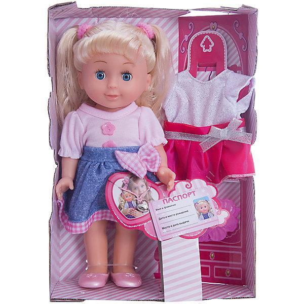 Кукла Карапуз Полина, озвученная с набором одежды, 25 смБренды кукол<br>Характеристики товара:<br><br>• в комплекте: кукла, одежда, аксессуары;<br>• высота куклы: 25 см;<br>• возраст: от 3 лет;<br>• материал: пластик, текстиль, металл;<br>• работает от батареек (входят в комплект);<br>• размер упаковки: 27х19х8 см;<br>• страна бренда: Россия.<br><br>Озвученная кукла Полина от торговой марки Карапуз порадует даже самых взыскательных модниц. Кукла одета в розовую кофточку, стильную синюю юбочку и розовые сандалики. Белокурые волосы Полины заплетены в два хвостика с розовыми резиночками. В комплект входит сменный комплект одежды, «документы» куклы и другие аксессуары. <br><br>Кукла имеет подвижные руки, ноги и голову, чтобы девочка могла придать позу, подходящую для игры. Полина умеет петь песню и рассказывать стихотворения Агнии Барто. Если положить куклу на спину, она закроет свои глазки. Лицо Полины выполнено очень реалистично: большие глаза, розовые щечки, аккуратные черты лица - всё это обязательно вызовет улыбку у девочки. Высота куклы - 25 сантиметров.<br><br>Куклу Карапуз «Полина», озвученную с набором одежды, 25 см можно купить в нашем интернет-магазине.<br>Ширина мм: 270; Глубина мм: 80; Высота мм: 190; Вес г: 380; Возраст от месяцев: 36; Возраст до месяцев: 60; Пол: Женский; Возраст: Детский; SKU: 7014446;