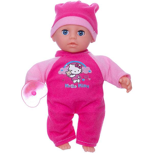 Пупс Карапуз Hello Kitty, озвученный, мягкое тело, 20 смHello Kitty<br>Интерактивная кукла-пупс Hello Kitty похожа на настоящего ребенка и работает на батарейках. Она имеет мягкое тело и русскую озвучку. Игрушка умеет смеяться и плакать, и также произносит 30 разных звуков. Кукла одета в яркий теплый комбинезон и шапочку. В наборе также имеется соска. Детали комплекта изготовлены из прочного пластика и сшиты из мягкого текстиля. Рекомендовано детям от 3-х лет.<br><br>Ширина мм: 250<br>Глубина мм: 80<br>Высота мм: 160<br>Вес г: 290<br>Возраст от месяцев: 36<br>Возраст до месяцев: 60<br>Пол: Женский<br>Возраст: Детский<br>SKU: 7014447