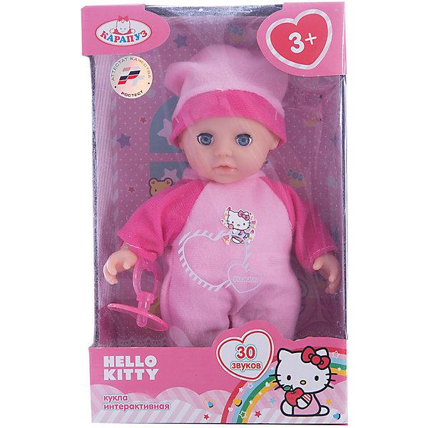 Пупс Карапуз Hello Kitty, озвученный, мягкое тело, 20 смБренды кукол<br>Интерактивная кукла-пупс Hello Kitty похожа на настоящего ребенка и работает на батарейках. Она имеет мягкое тело и русскую озвучку. Игрушка умеет смеяться и плакать, и также произносит 30 разных звуков. Кукла одета в яркий теплый комбинезон и шапочку. В наборе также имеется соска. Детали комплекта изготовлены из прочного пластика и сшиты из мягкого текстиля. Рекомендовано детям от 3-х лет.<br><br>Ширина мм: 250<br>Глубина мм: 80<br>Высота мм: 160<br>Вес г: 290<br>Возраст от месяцев: 36<br>Возраст до месяцев: 60<br>Пол: Женский<br>Возраст: Детский<br>SKU: 7014448