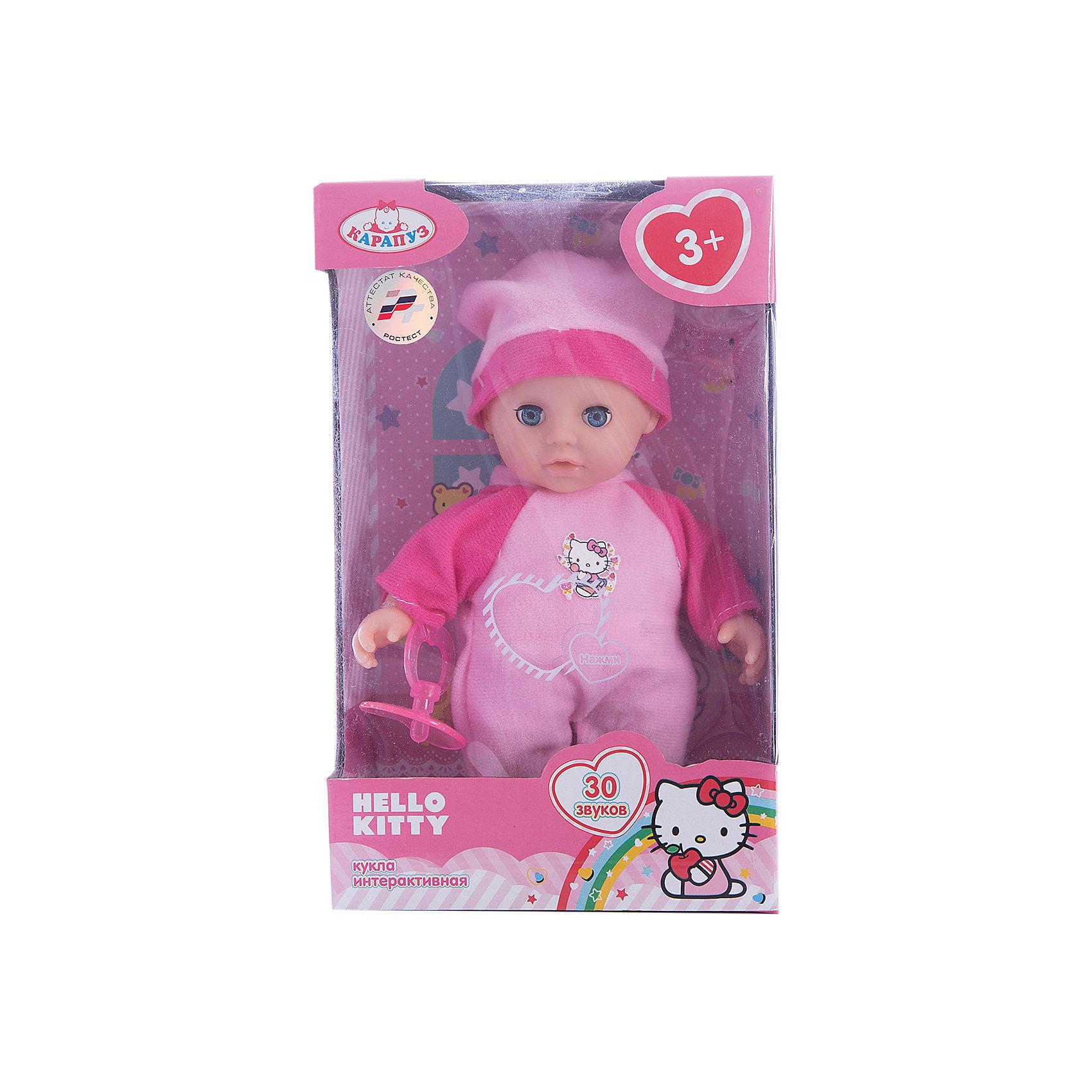 Пупс Карапуз Hello Kitty, озвученный, мягкое тело, 20 смКуклы-пупсы<br>Интерактивная кукла-пупс Hello Kitty похожа на настоящего ребенка и работает на батарейках. Она имеет мягкое тело и русскую озвучку. Игрушка умеет смеяться и плакать, и также произносит 30 разных звуков. Кукла одета в яркий теплый комбинезон и шапочку. В наборе также имеется соска. Детали комплекта изготовлены из прочного пластика и сшиты из мягкого текстиля. Рекомендовано детям от 3-х лет.<br><br>Ширина мм: 250<br>Глубина мм: 80<br>Высота мм: 160<br>Вес г: 290<br>Возраст от месяцев: 36<br>Возраст до месяцев: 60<br>Пол: Женский<br>Возраст: Детский<br>SKU: 7014448