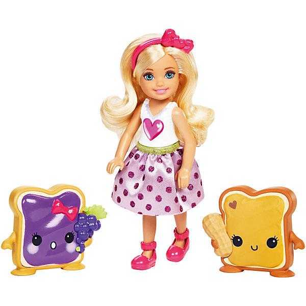 Кукла Barbie Челси и сладостиBarbie<br>Характеристики товара:<br><br>• возраст: от 3 лет<br>• материал: пластик;<br>• высота куклы: 11-13 см;<br>• размер упаковки: 16X16X6 см;<br>• страна бренда: США<br>• страна изготовоитель: Китай<br><br>Очаровательная кукла Chelsea™ из королевства Сладкоград Barbie™ Dreamtopia еще милее, когда рядом друзья из страны сладостей. <br><br>Chelsea™ с арахисовым маслом и?желе одета в юбку с узором в виде желе. Увлекательные детали есть и у друзей из Сладкограда: у арахисового масла есть орешек, а у желе— виноградины. <br><br>Куклу Barbie Челси и сладости можно купить в нашем интернет-магазине.<br>Ширина мм: 160; Глубина мм: 45; Высота мм: 165; Вес г: 192; Возраст от месяцев: 36; Возраст до месяцев: 2147483647; Пол: Женский; Возраст: Детский; SKU: 7014662;