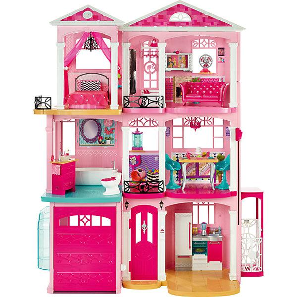 Дом Мечты BarbieБренды кукол<br>Характеристики:<br><br>• возраст: от 3 лет;<br>• материал: пластик;<br>• тип батареек: 3хААА;<br>• наличие батареек: не в комплекте;<br>• высота куклы: до 30 см;<br>• в наборе: дом, мебель, аксессуары (всего 70 шт.);<br>• вес упаковки: 9,9 кг.;<br>• размер упаковки: 22х22х76,5 см;<br>• страна бренда: США.<br><br>«Дом мечты» Barbie – собственный роскошный особняк для куклы. В трехэтажном доме есть кухня, ванная, гостиная, спальня, балкон, комната питомца и даже гараж с машиной. Каждая комната оснащена аксессуарами и выполнена с высокой детализацией предметов.<br><br>Поднять куклу на этажи выше можно с помощью подвижного лифта. Дом продуман до мелочей, в комплекте целый ряд аксессуаров, включая посуду, еду, бытовую технику, аквариум и предметы гардероба.<br><br>Самое интересное – взаимодействие кукол и аксессуаров со звуковыми и световыми эффектами дома. Например, если барби решит почистить зубки, то ребенок услышит соответсвующий звук. Если поставить вентилятор на комод, раздастся звук работающего прибора.<br><br>Особняк имеет оформленный фасад и комнаты. Кукольный домик привлечет внимание девочки на долгое время. Набор выполнен из качественных безопасных материалов, отличается прочностью.<br><br>«Дом мечты», Barbie можно купить в нашем интернет-магазине.<br>Ширина мм: 760; Глубина мм: 220; Высота мм: 765; Вес г: 1000; Возраст от месяцев: 36; Возраст до месяцев: 2147483647; Пол: Женский; Возраст: Детский; SKU: 7014663;
