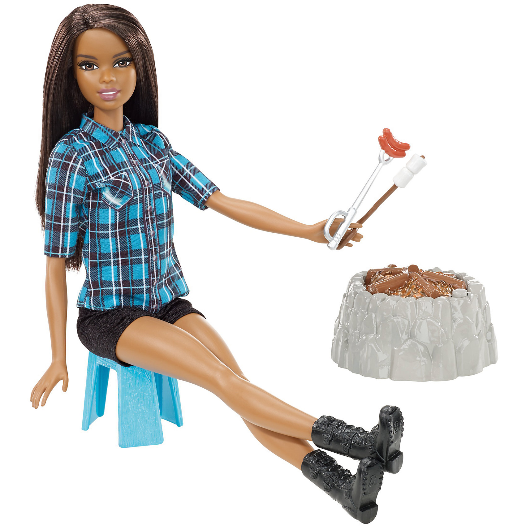 Кукла у костра Barbie БрюнеткаПопулярные игрушки<br>Характеристики товара:<br><br>• возраст: от 3 лет<br>• материал: пластик;<br>• высота куклы: 28-30 см;<br>• размер упаковки: 31X25X7 см;<br>• страна бренда: США<br>• страна изготовоитель: Китай<br><br>Отправляйся в поход вместе с Barbie®. Как приятно посидеть у костра и слушать как потрескивает в нем полено.<br><br>Костер с реалистичными звуками и подсветкой. Нужно лишь нажать кнопку на костре (она замаскирована под камень), чтобы добавить искорку в игру. <br><br>Barbie® может разложить свой походный стул, приготовить на костре еду и рассказать историю. Хот-дог и зефир— классические походные лакомства. Каждое блюдо нанизано на палочку, которую Barbie® может держать в руке. <br><br>Куклу у костра Barbie можно купить в нашем интернет-магазине.<br><br>Отправляйся в поход вместе с Barbie®! У каждой в наборе костер с реалистичными звуками и подсветкой. Это так весело! Просто нажми кнопку на костре (она замаскирована под камень), чтобы добавить искорку в игру. Barbie® может разложить свой походный стул, приготовить на костре еду и рассказать историю. Хот-дог и зефир— классические походные лакомства. Каждое блюдо нанизано на палочку, которую Barbie® может держать в руке. Barbie®, одетая в клетчатую рубашку, шорты и сапоги, готова насладиться прогулкой на природе. Собери всех кукол Barbie® и аксессуары из походной серии для приятной игры на свежем воздухе!<br><br>Ширина мм: 325<br>Глубина мм: 60<br>Высота мм: 205<br>Вес г: 400<br>Возраст от месяцев: 36<br>Возраст до месяцев: 2147483647<br>Пол: Женский<br>Возраст: Детский<br>SKU: 7014668
