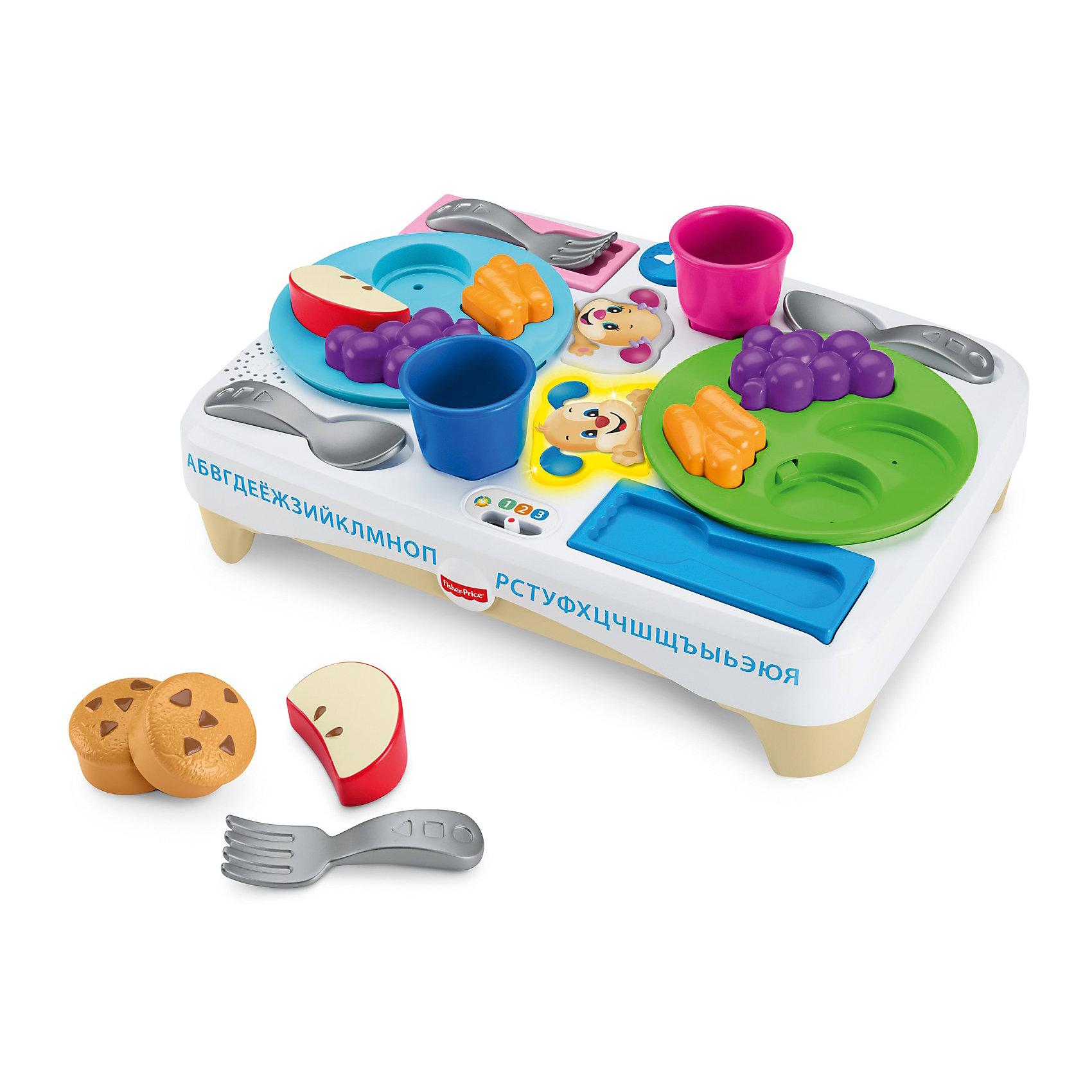 Игровой набор Fisher-Price Учимся делитьсяРазвивающие игрушки<br>Характеристики товара:<br><br>• возраст: от 3 лет<br>• материал: пластик;<br>• размер упаковки: 33X37X12,5<br><br>Этот интерактивный набор посуды поможет малышам усвоить манеры поведения за столом через игры с едой! Блюда, посуду и чашки нужно расставить по нужным местам на подносе— задача не из легких! <br><br>Если ребенок справился с головоломкой и накрыл на стол правильно, прозвучит веселая песенка или фраза о хороших манерах, сочетаниях еды и о том, как важно делиться! «Волшебные» подносы понимают, что уже есть на столе, а чего не хватает! <br><br>Набор посуды «Скажи «Пожалуйста»» будет расти вместе с ребенком: технология «Уровни обучения»™ поможет малышу продолжать учиться! <br><br>На каждом уровне— свои звуки, песни, мелодии и фразы, подходящие именно для этого возраста.<br><br>Игровой набор Fisher-Price Учимся делиться можно купить в нашем интернет-магазине.<br><br>Ширина мм: 330<br>Глубина мм: 125<br>Высота мм: 370<br>Вес г: 748<br>Возраст от месяцев: 18<br>Возраст до месяцев: 36<br>Пол: Унисекс<br>Возраст: Детский<br>SKU: 7014715