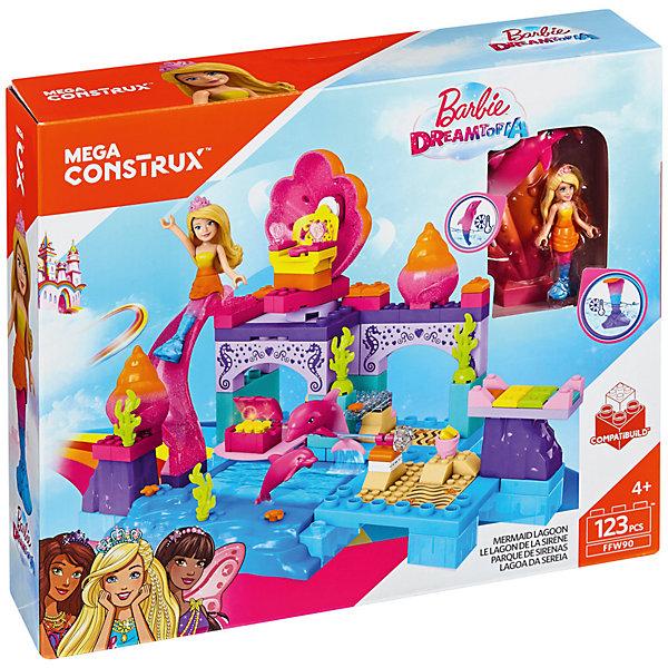 Конструктор MEGA CONSTRUX Barbie Лагуна русалокПластмассовые конструкторы<br>Характеристики:<br><br>• тип игрушки: конструктор;<br>• возраст: от 5 лет;<br>• размер: 29x32х7 см;<br>• вес: 978 гр; <br>• упаковка: картонная коробка;<br>• комплектация: лагуна с бассейном, водяная горка, вращающееся кресло-раковина, сундук с сокровищами, кроватка для дельфина, фигурка русалки Barbie, 2 фигурки дельфинов;<br>• количество деталей: 123 шт;<br>• материал: пластик;<br>• бренд:  Mattel.<br><br>Конструктор MEGA CONSTRUX Barbie «Лагуна русалок» несомненно понравится девочкам и подарит им прекрасную возможность собрать уникальную лагуну русалок.<br>Комплект этого оригинального набора содержит 123 детали, из которых дети смогут соорудить лагуну с бассейном, водяную горку, вращающееся кресло-раковину, сундук с сокровищами и кроватку для забавного дельфина.<br><br> Дополняют комплектацию привлекательная фигурка русалки Barbie и два розовых дельфина. С готовым сооружением и фигурками девочки смогут погрузиться в сказочный подводный мир и станут полноценными участницами захватывающих и увлекательных морских приключений.<br><br>Конструктор MEGA CONSTRUX Barbie «Лагуна русалок» можно купить в нашем интернет-магазине.<br>Ширина мм: 290; Глубина мм: 70; Высота мм: 355; Вес г: 978; Возраст от месяцев: 60; Возраст до месяцев: 2147483647; Пол: Унисекс; Возраст: Детский; SKU: 7014813;