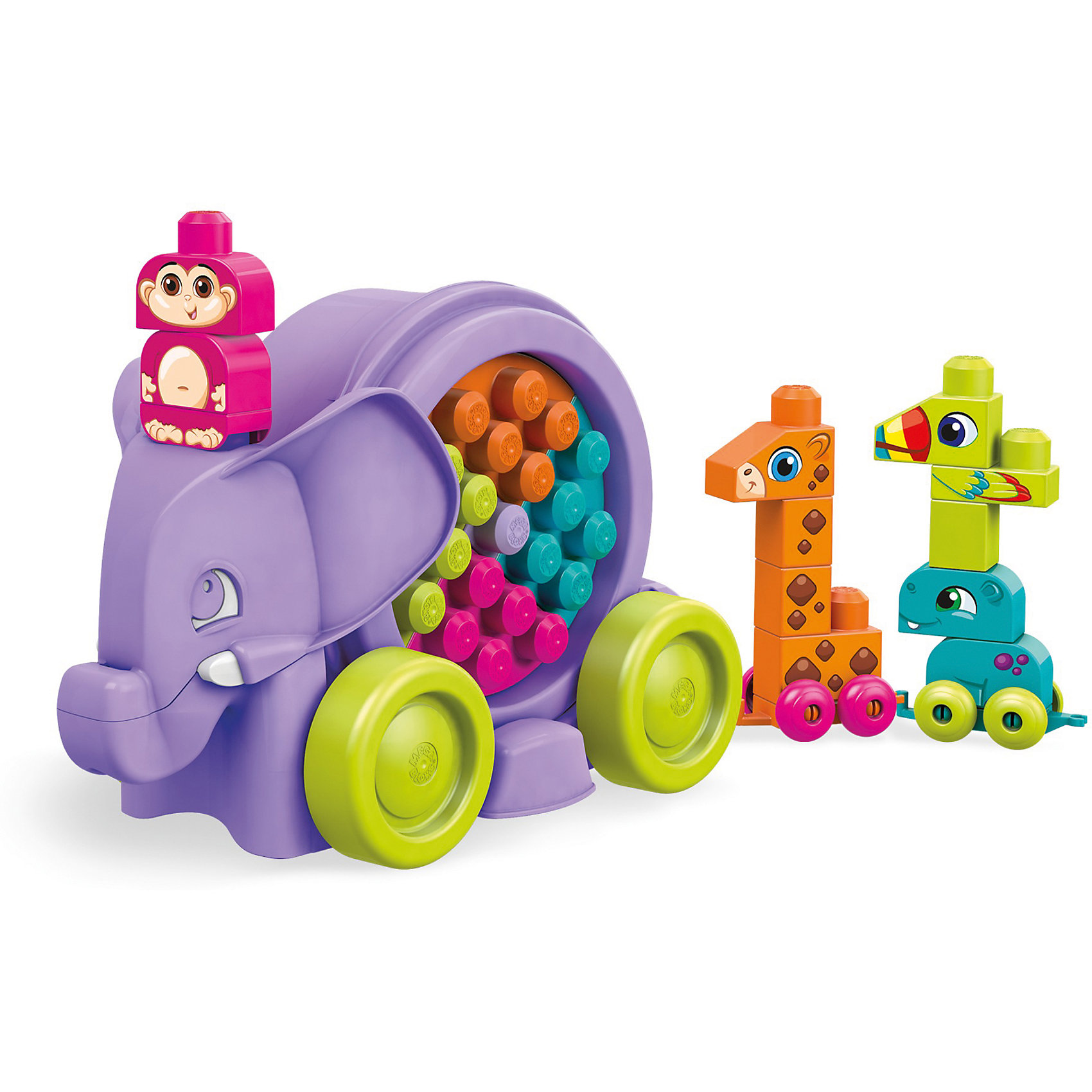 Конструктор MEGA BLOKS Неуклюжий слонКонструкторы для малышей<br>Характеристики товара:<br><br>• возраст от 1 года;<br>• материал: пластик;<br>• размер упаковки 29X40,5X20,5 см;<br>• вес упаковки 430 гр.;<br>• страна бренда: США<br>• страна производитель: Китай.<br><br>Толкай слона вперед, и внутри большого барабана будут крутиться разноцветные кубики. Выбирай набор ярких или нежных цветов. Открой барабан и используй крышку, чтобы собрать на ней бегемота, обезьянку, тукана и жирафа, подбирая для каждого животного правильный цвет. <br><br>Поставь всех животных за слоном и соедини их друг с другом: получится парад животных на колесиках! Когда парад закончен, можно быстро и легко собрать все игрушки обратно в барабан!<br><br>Слона на колесах с крутящимся барабаном, наполненным кубиками можно купить в нашем интернет-магазине.<br><br>Ширина мм: 290<br>Глубина мм: 205<br>Высота мм: 405<br>Вес г: 1496<br>Возраст от месяцев: 12<br>Возраст до месяцев: 60<br>Пол: Унисекс<br>Возраст: Детский<br>SKU: 7014842