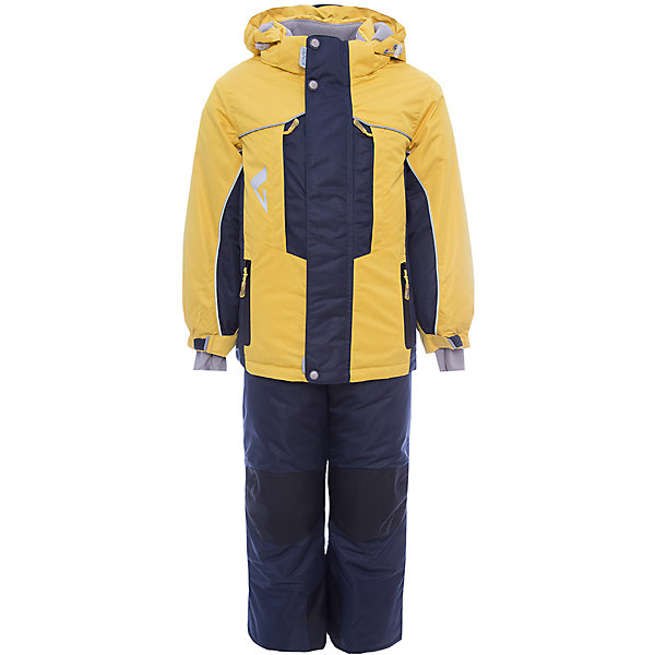 Комплект: куртка и полукомбинезон Дамир JICCO BY OLDOS  для мальчикаВерхняя одежда<br>Характеристики товара:<br><br>• цвет: желтый<br>• комплектация: куртка и полукомбинезон<br>• состав ткани: полиэстер, Teflon<br>• подкладка: флис<br>• утеплитель: Hollofan pro<br>• сезон: зима<br>• мембрана<br>• температурный режим: от -30 до +5<br>• водонепроницаемость: 5000 мм <br>• паропроницаемость: 5000 г/м2<br>• плотность утеплителя: куртка - 200 г/м2, полукомбинезон - 150 г/м2<br>• застежка: молния<br>• капюшон: без меха, съемный<br>• полукомбинезон усилен износостойкими вставками<br>• страна бренда: Россия<br>• страна изготовитель: Россия<br><br>Детский комплект для мальчика дополнен элементами, помогающими скорректировать размер точно под ребенка. Детский зимний комплект создан с применением мембранной технологии, поэтому рассчитан даже на сильные морозы. Этот легкий и теплый зимний комплект выделяется стильным дизайном и качественными материалами. <br><br>Покрытие Teflon: защита от воды и грязи, износостойкость, за изделием легко ухаживать. Мембрана 5000/5000: водонепроницаемость, одежда дышит. Гипоаллергенный утеплитель HOLLOFAN PRO 200/150 г/м2 - тоньше обычного, зато эффективнее удерживает тепло. Подкладка флисовый (в рукавах и полукомбинезоне гладкий п/э для легкости одевания).<br><br>Костюм прекрасно защитит от ветра и снега благодаря воротнику-стойке, ветрозащитным планкам, снего-ветрозащитным муфтам и юбке; манжета регулируется по ширине. Дополнительно в рукавах есть эластичные манжеты с отверстием для большого пальца! <br><br>Спинка удлиненная, низ куртки регулируется по ширине. Капюшон съемный с регулировкой объема. Карманы на молнии, есть внутренний кармашек на липучке. Полукомбинезон с застежкой на молнии, резинкой по талии, широкими эластичными регулируемыми подтяжками, карманами, усилениями в местах износа. Светоотражающие элементы.<br><br>Комплект: куртка и полукомбинезон Дамир Oldos (Олдос) для мальчика можно купить в нашем интернет-магазине.<br>Ширина мм: 
