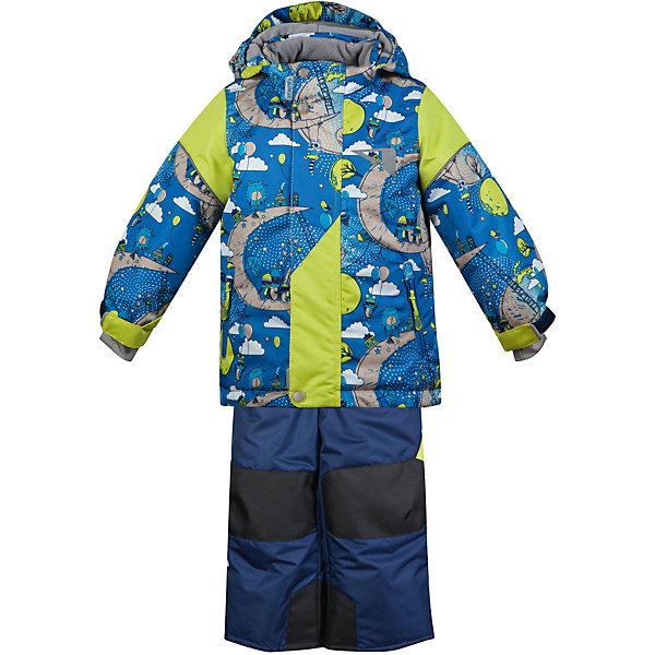 Комплект: куртка и полукомбинезон Нильс OLDOS ACTIVE для мальчикаВерхняя одежда<br>Характеристики товара:<br><br>• цвет: синий<br>• комплектация: куртка и полукомбинезон<br>• состав ткани: полиэстер, Teflon<br>• подкладка: флис<br>• утеплитель: Hollofan pro<br>• сезон: зима<br>• мембранное покрытие<br>• температурный режим: от -30 до +5<br>• водонепроницаемость: 5000 мм <br>• паропроницаемость: 5000 г/м2<br>• плотность утеплителя: куртка - 200 г/м2, полукомбинезон - 150 г/м2<br>• застежка: молния<br>• капюшон: без меха, съемный<br>• полукомбинезон усилен износостойкими вставками<br>• страна бренда: Россия<br>• страна изготовитель: Россия<br><br>Практичный детский комплект благодаря мембранной технологии защитит даже от сильного ветра и мороза. Теплый комплект для мальчика дополнен элементами, помогающими подогнать его размер под ребенка. Стильный зимний комплект от бренда Oldos отличается мягкой подкладкой, прочным верхом и теплым наполнителем. <br><br>Покрытие Teflon: защита от воды и грязи, износостойкость, за изделием легко ухаживать. Мембрана 5000/5000: водонепроницаемость, выведение влаги и комфорт. Гипоаллергенный утеплитель HOLLOFAN PRO 200/150 г/м2 - тоньше обычного, зато эффективнее удерживает тепло.<br><br>Подкладка флисовый (в рукавах и п/комбинезоне гладкий п/э для легкости одевания). Костюм прекрасно защитит от ветра и снега благодаря воротнику-стойке, ветрозащитным планкам, снего-ветрозащитным муфтам и юбке; манжета регулируется по ширине. Дополнительно в рукавах есть эластичные манжеты с отверстием для большого пальца! <br><br>Спинка удлиненная, низ куртки регулируется по ширине. Капюшон съемный с регулировкой объема. Карманы на молнии, есть внутренний карман на липучке. Полукомбинезон с застежкой на молнии, резинкой по талии, широкими эластичными регулируемыми подтяжками, карманами, усилениями в местах износа. Светоотражающие элементы.<br><br>Комплект: куртка и полукомбинезон Нильс Oldos (Олдос) для мальчика можно купить в нашем интернет-магазине.<br