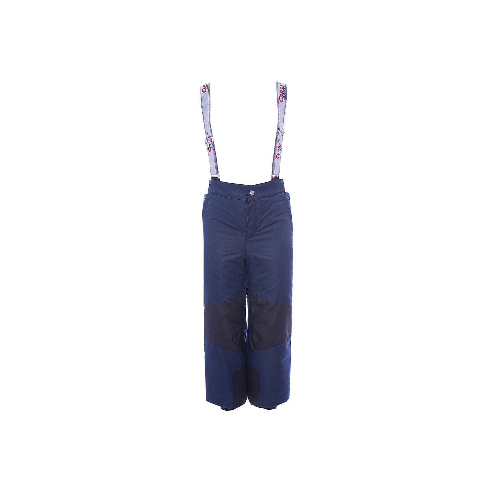 Брюки Вэйл OLDOS для мальчикаВерхняя одежда<br>Характеристики товара:<br><br>• цвет: синий<br>• состав ткани: полиэстер, Teflon<br>• подкладка: полиэстер<br>• утеплитель: Hollofan pro<br>• сезон: зима<br>• мембранное покрытие<br>• температурный режим: от -30 до +5<br>• водонепроницаемость: 5000 мм <br>• паропроницаемость: 5000 г/м2<br>• плотность утеплителя: 150 г/м2<br>• застежка: молния, кнопка, липучка<br>• спинка с лямками: съемные<br>• износостойкая ткань по низу брючин<br>• страна бренда: Россия<br>• страна изготовитель: Россия<br><br>В теплых детских брюках - тонкий гипоаллергенный утеплитель, который отлично удерживает тепло. Мембранный верх брюк создает комфортный для ребенка микроклимат. Практичные зимние брюки Oldos имеют противоснежные муфты с антискользящей резинкой, усиление от износа и съемную спинку с регулируемыми лямками.<br><br>Брюки Вэйл Oldos (Олдос) для мальчика можно купить в нашем интернет-магазине.<br><br>Ширина мм: 215<br>Глубина мм: 88<br>Высота мм: 191<br>Вес г: 336<br>Цвет: синий<br>Возраст от месяцев: 84<br>Возраст до месяцев: 96<br>Пол: Мужской<br>Возраст: Детский<br>Размер: 128,134,140,146,152,92,98,104,110,116,122<br>SKU: 7015913