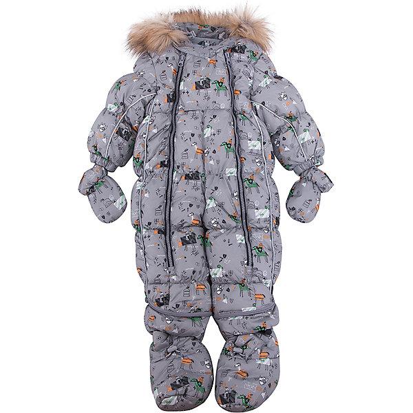 Комбинезон-трансформер Морис OLDOS для мальчикаВерхняя одежда<br>Характеристики товара:<br><br>• цвет: серый<br>• состав ткани: 100% полиэстер, пропитка PU, Teflon<br>• подкладка: хлопок<br>• утеплитель: искусственный лебяжий пух<br>• сезон: зима<br>• температурный режим: от -35 до 0<br>• застежка: молния<br>• капюшон: с мехом, несъемный<br>• пинетки, варежки, опушка отстегиваются<br>• трансформируется в конверт<br>• страна бренда: Россия<br>• страна изготовитель: Россия<br><br>Верх этого детского комбинезона - с пропиткой от грязи и влаги. Мягкая подкладка детского комбинезона-трансформера для зимы приятна на ощупь. Удобный комбинезон-трансформер для мальчика дополнен съемными пинетками и варежками. Комбинезон-трансформер позволяет создать комфортный микроклимат даже в сильные морозы.<br><br>Внешнее покрытие TEFLON - защита от воды и грязи, износостойкость, за изделием легко ухаживать. Современный утеплитель - лебяжий пух искусственный: легкий, как натуральный, сохраняет тепло, не впитывает влагу, держит и быстро восстанавливает объем, гипоаллергенен. Подкладка - натуральный хлопок. <br><br>Капюшон слитный, объем регулируется, опушка отстегивается. Есть светоотражающие элементы, съемные эластичные штрипки, внутренние трикотажные манжеты в рукавах. Пинетки и варежки в комплекте, крепятся к комбинезону кнопками. Пока ребенок маленький - удобно использовать в виде конверта, а когда подрастет - носить полноценный комбинезон.<br><br>Комбинезон-трансформер Морис Oldos (Олдос) для мальчика можно купить в нашем интернет-магазине.<br>Ширина мм: 356; Глубина мм: 10; Высота мм: 245; Вес г: 519; Цвет: серый; Возраст от месяцев: 6; Возраст до месяцев: 9; Пол: Мужской; Возраст: Детский; Размер: 74,86,80; SKU: 7016608;