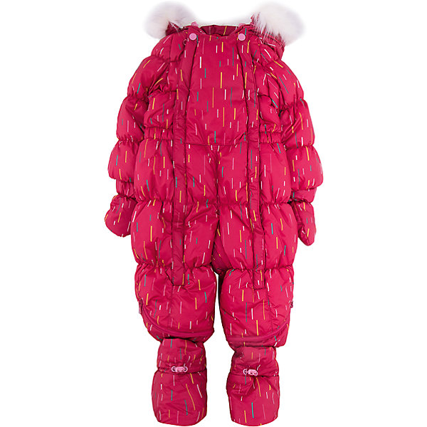Комбинезон-трансформер Дождик OLDOS для девочкиВерхняя одежда<br>Характеристики товара:<br><br>• цвет: малиновый<br>• состав ткани: 100% полиэстер, пропитка PU, Teflon<br>• подкладка: хлопок<br>• утеплитель: искусственный лебяжий пух<br>• сезон: зима<br>• температурный режим: от -35 до 0<br>• застежка: молния<br>• капюшон: с мехом, несъемный<br>• пинетки, варежки, опушка отстегиваются<br>• трансформируется в конверт<br>• страна бренда: Россия<br>• страна изготовитель: Россия<br><br>На этом детском комбинезоне-трансформере есть светоотражающие элементы, съемные эластичные штрипки, внутренние трикотажные манжеты в рукавах, он дополнен съемными пинетками и варежками. <br><br>Стильный и удобный зимний комбинезон-трансформер  - прекрасный выбор для современных родителей. Внешнее покрытие Teflon - защита от воды и грязи, износостойкость, за изделием легко ухаживать. Современный утеплитель - лебяжий пух искусственный: легкий, как натуральный, сохраняет тепло, не впитывает влагу, держит и быстро восстанавливает объем, гипоаллергенен. Подкладка - натуральный хлопок. <br><br>Капюшон слитный, с регулировкой объема, опушка отстегивается. Есть светоотражающие элементы, внутренние трикотажные манжеты в рукавах, съемные эластичные штрипки. Пинетки и варежки в комплекте, крепятся к комбинезону кнопками. Пока ребенок маленький - удобно использовать в виде конверта, а когда подрастет - носить полноценный комбинезон. <br><br>Комбинезон-трансформер Дождик Oldos (Олдос) для девочки можно купить в нашем интернет-магазине.<br>Ширина мм: 356; Глубина мм: 10; Высота мм: 245; Вес г: 519; Цвет: розовый; Возраст от месяцев: 12; Возраст до месяцев: 18; Пол: Женский; Возраст: Детский; Размер: 86,68,74,80; SKU: 7016627;