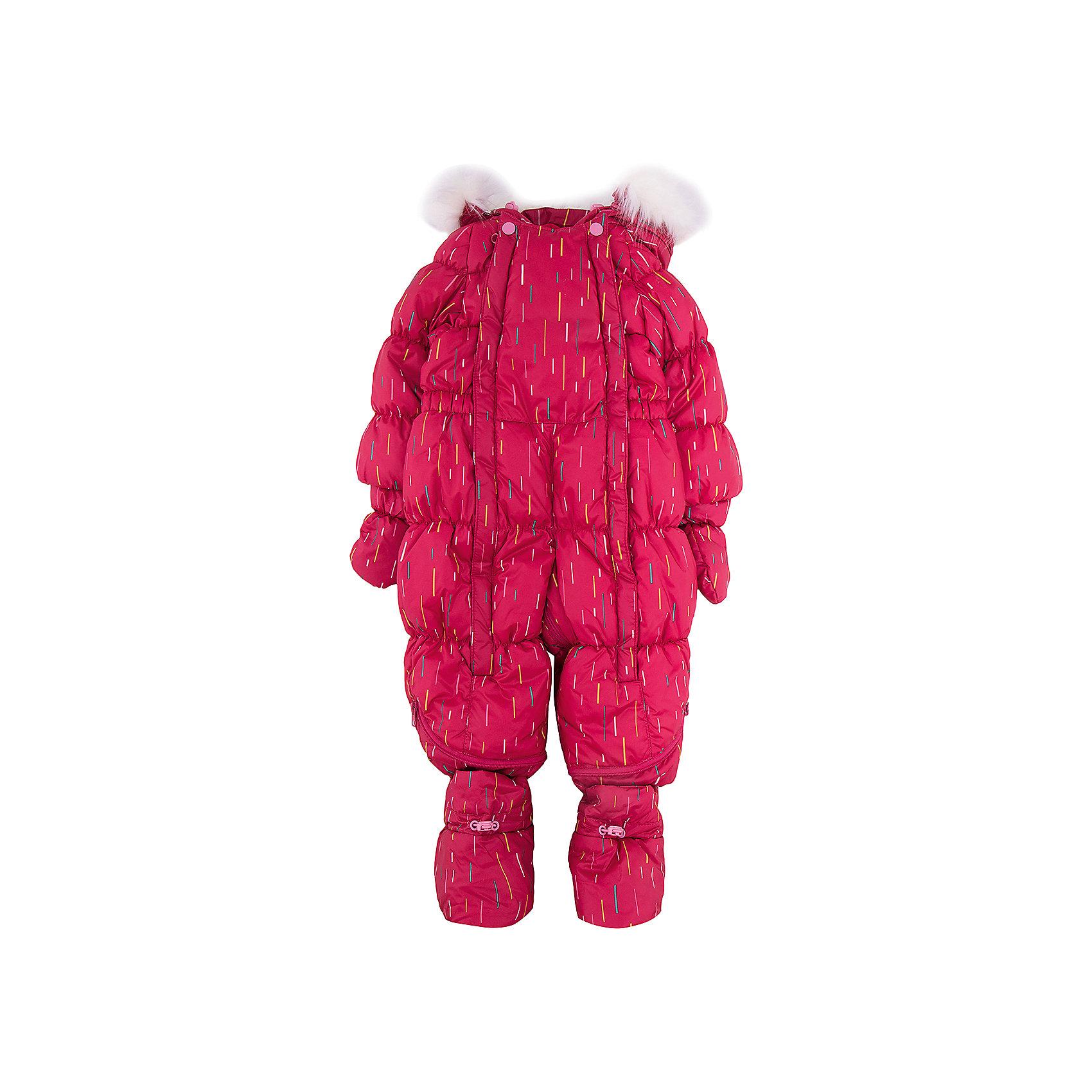 Комбинезон-трансформер Дождик OLDOS для девочкиВерхняя одежда<br>Характеристики товара:<br><br>• цвет: малиновый<br>• состав ткани: 100% полиэстер, пропитка PU, Teflon<br>• подкладка: хлопок<br>• утеплитель: искусственный лебяжий пух<br>• сезон: зима<br>• температурный режим: от -35 до 0<br>• застежка: молния<br>• капюшон: с мехом, несъемный<br>• пинетки, варежки, опушка отстегиваются<br>• трансформируется в конверт<br>• страна бренда: Россия<br>• страна изготовитель: Россия<br><br>На этом детском комбинезоне-трансформере есть светоотражающие элементы, съемные эластичные штрипки, внутренние трикотажные манжеты в рукавах, он дополнен съемными пинетками и варежками. Верх детского комбинезона-трансформера усилен специальной пропиткой. Мягкая подкладка детского комбинезона для зимы приятна на ощупь.<br><br>Комбинезон-трансформер Дождик Oldos (Олдос) для девочки можно купить в нашем интернет-магазине.<br><br>Ширина мм: 356<br>Глубина мм: 10<br>Высота мм: 245<br>Вес г: 519<br>Цвет: розовый<br>Возраст от месяцев: 12<br>Возраст до месяцев: 18<br>Пол: Женский<br>Возраст: Детский<br>Размер: 86,68,74,80<br>SKU: 7016627