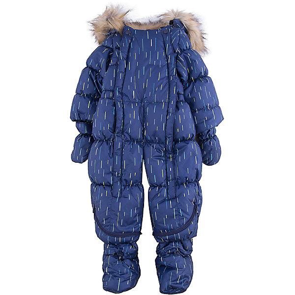 Комбинезон-трансформер Дождик OLDOS для мальчикаКомбинезоны<br>Характеристики товара:<br><br>• цвет: синий<br>• состав ткани: 100% полиэстер, пропитка PU, Teflon<br>• подкладка: хлопок<br>• утеплитель: искусственный лебяжий пух<br>• сезон: зима<br>• температурный режим: от -35 до 0<br>• застежка: молния<br>• капюшон: с мехом, несъемный<br>• пинетки, варежки, опушка отстегиваются<br>• трансформируется в конверт<br>• страна бренда: Россия<br>• страна изготовитель: Россия<br><br>Яркий комбинезон-трансформер позволяет создать комфортный микроклимат даже в сильные морозы. Верх этого детского комбинезона - с пропиткой от грязи и влаги. Мягкая подкладка детского комбинезона-трансформера для зимы приятна на ощупь. <br><br>Стильный и удобный зимний комбинезон-трансформер  - прекрасный выбор для современных родителей. Внешнее покрытие Teflon - защита от воды и грязи, износостойкость, за изделием легко ухаживать. Современный утеплитель - лебяжий пух искусственный: легкий, как натуральный, сохраняет тепло, не впитывает влагу, держит и быстро восстанавливает объем, гипоаллергенен. Подкладка - натуральный хлопок. <br><br>Капюшон слитный, с регулировкой объема, опушка отстегивается. Есть светоотражающие элементы, внутренние трикотажные манжеты в рукавах, съемные эластичные штрипки. Пинетки и варежки в комплекте, крепятся к комбинезону кнопками. Пока ребенок маленький - удобно использовать в виде конверта, а когда подрастет - носить полноценный комбинезон. <br><br>Комбинезон-трансформер Дождик Oldos (Олдос) для девочки можно купить в нашем интернет-магазине.<br><br>Ширина мм: 356<br>Глубина мм: 10<br>Высота мм: 245<br>Вес г: 519<br>Цвет: синий<br>Возраст от месяцев: 12<br>Возраст до месяцев: 15<br>Пол: Мужской<br>Возраст: Детский<br>Размер: 80,74<br>SKU: 7016632