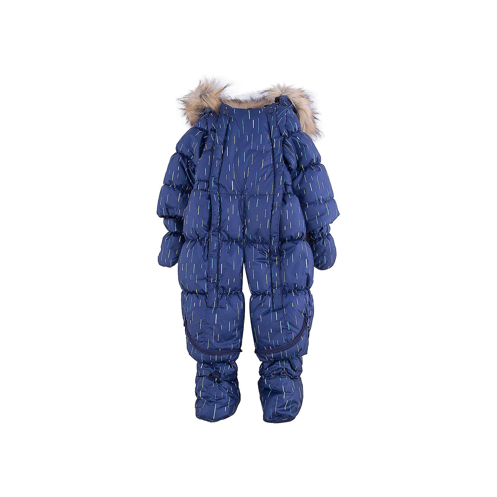 Комбинезон-трансформер Дождик OLDOS для мальчикаВерхняя одежда<br>Характеристики товара:<br><br>• цвет: синий<br>• состав ткани: 100% полиэстер, пропитка PU, Teflon<br>• подкладка: хлопок<br>• утеплитель: искусственный лебяжий пух<br>• сезон: зима<br>• температурный режим: от -35 до 0<br>• застежка: молния<br>• капюшон: с мехом, несъемный<br>• пинетки, варежки, опушка отстегиваются<br>• трансформируется в конверт<br>• страна бренда: Россия<br>• страна изготовитель: Россия<br><br>Яркий комбинезон-трансформер позволяет создать комфортный микроклимат даже в сильные морозы. Верх этого детского комбинезона - с пропиткой от грязи и влаги. Мягкая подкладка детского комбинезона-трансформера для зимы приятна на ощупь. Удобный комбинезон-трансформер для мальчика дополнен съемными пинетками и варежками. <br><br>Комбинезон-трансформер Дождик Oldos (Олдос) для девочки можно купить в нашем интернет-магазине.<br><br>Ширина мм: 356<br>Глубина мм: 10<br>Высота мм: 245<br>Вес г: 519<br>Цвет: синий<br>Возраст от месяцев: 12<br>Возраст до месяцев: 15<br>Пол: Мужской<br>Возраст: Детский<br>Размер: 80,74<br>SKU: 7016632