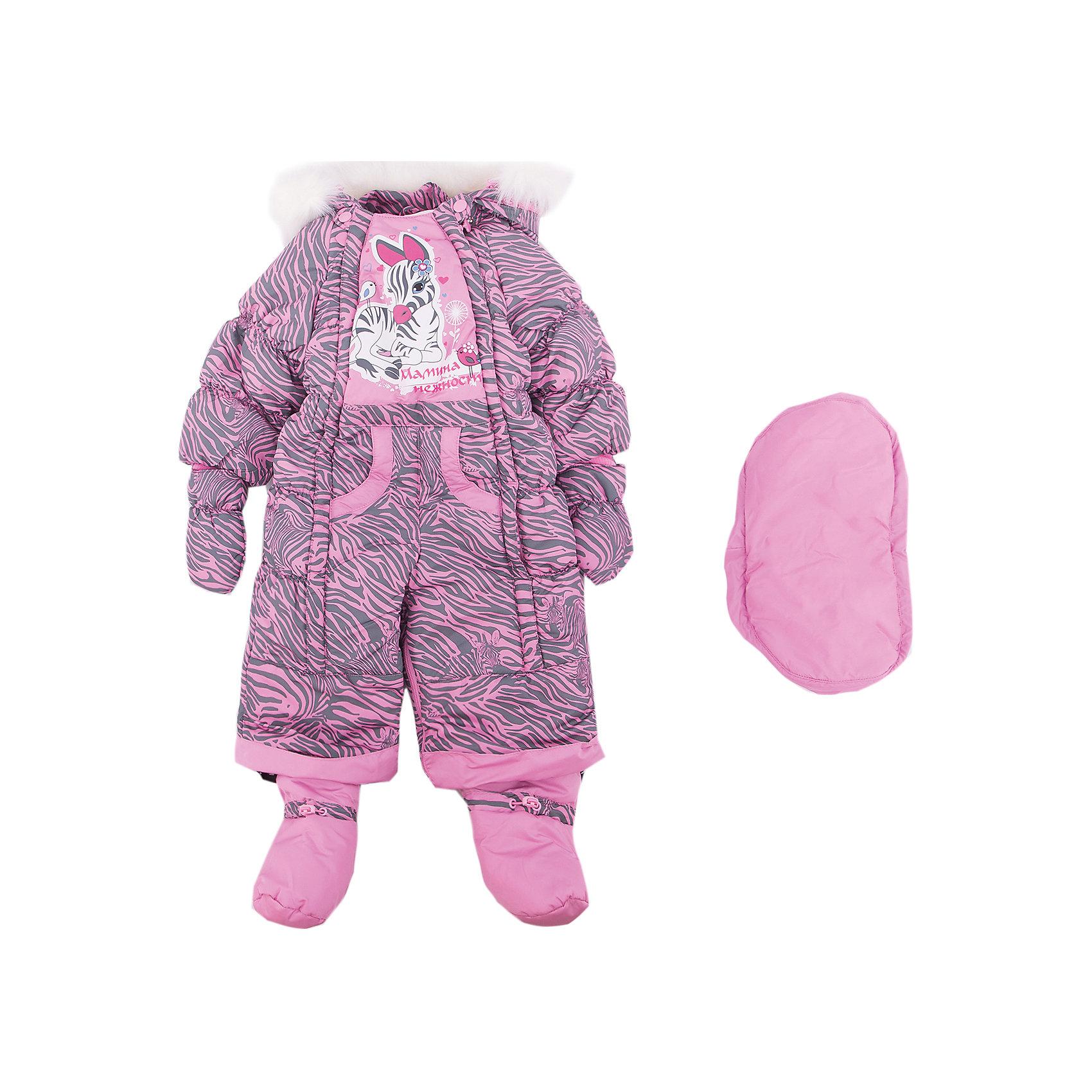 Комбинезон-трансформер Зебра OLDOS для девочкиВерхняя одежда<br>Характеристики товара:<br><br>• цвет: розовый<br>• состав ткани: 100% полиэстер, Teflon <br>• подкладка: хлопок<br>• утеплитель: Hollofan 200 г/м2<br>• подстежка: 60% шерсть, 40% полиэстер<br>• сезон: зима<br>• температурный режим: от -35 до 0<br>• застежка: молния<br>• капюшон: с мехом, несъемный<br>• пинетки, варежки, опушка отстегиваются<br>• трансформируется в конверт<br>• подстежка в комплекте<br>• страна бренда: Россия<br>• страна изготовитель: Россия<br><br>Верх этого детского комбинезона - с пропиткой от грязи и влаги. Мягкая подкладка детского комбинезона-трансформера для зимы приятна на ощупь. Удобный комбинезон-трансформер для девочки дополнен съемными пинетками и варежками. Комбинезон-трансформер позволяет создать комфортный микроклимат даже в сильные морозы.<br><br>Комбинезон-трансформер Зебра Oldos (Олдос) для девочки можно купить в нашем интернет-магазине.<br><br>Ширина мм: 356<br>Глубина мм: 10<br>Высота мм: 245<br>Вес г: 519<br>Цвет: розовый<br>Возраст от месяцев: 6<br>Возраст до месяцев: 9<br>Пол: Женский<br>Возраст: Детский<br>Размер: 74,86,80<br>SKU: 7016801