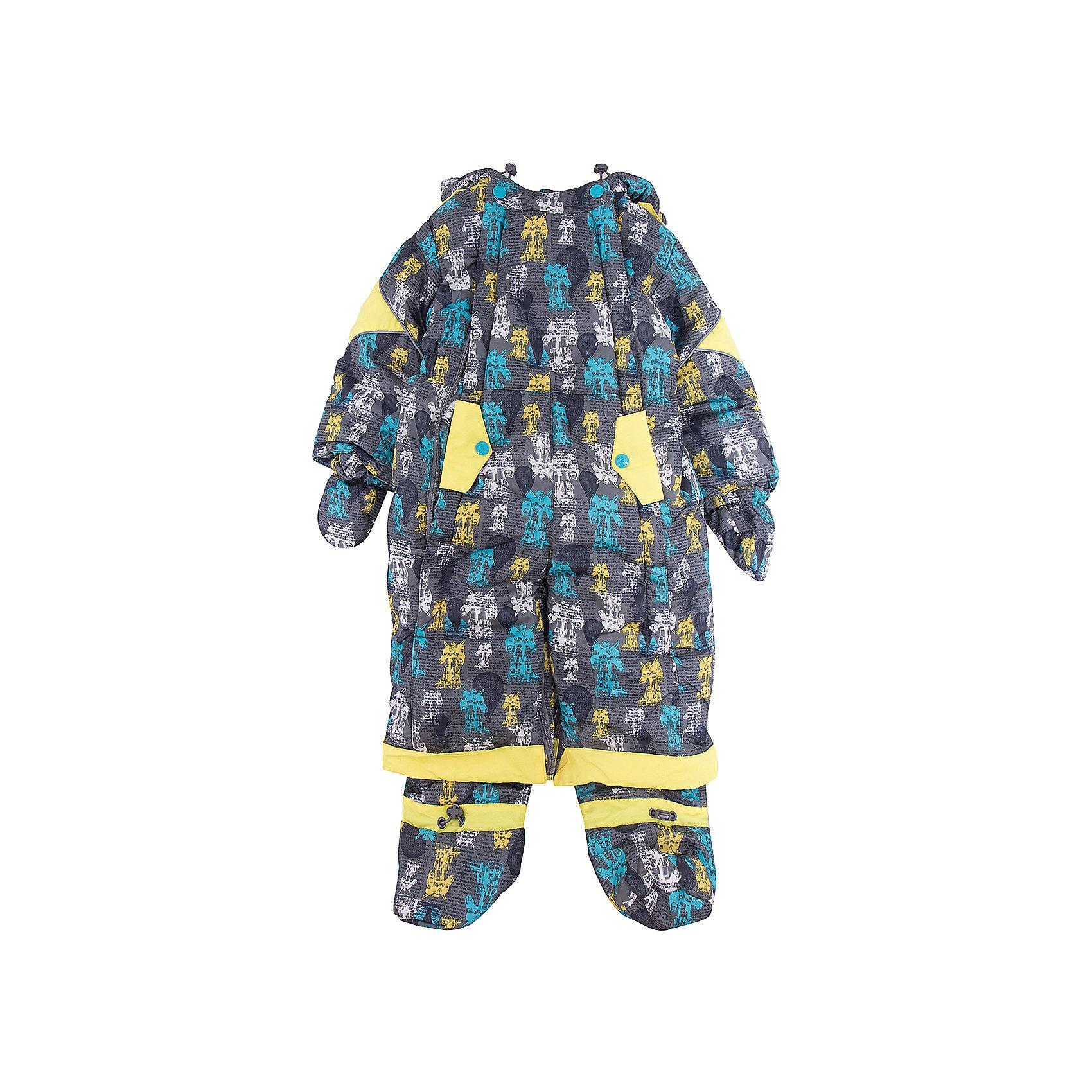 Комбинезон-трансформер Роботы OLDOS для мальчикаВерхняя одежда<br>Характеристики товара:<br><br>• цвет: серый<br>• состав ткани: 100% полиэстер, Teflon <br>• подкладка: хлопок<br>• утеплитель: Hollofan 200 г/м2<br>• подстежка: 60% шерсть, 40% полиэстер<br>• сезон: зима<br>• температурный режим: от -35 до 0<br>• застежка: молния<br>• капюшон: с мехом, несъемный<br>• пинетки, варежки, опушка отстегиваются<br>• трансформируется в конверт<br>• подстежка в комплекте<br>• страна бренда: Россия<br>• страна изготовитель: Россия<br><br>Комбинезон-трансформер декорирован оригинальным принтом. Верх детского комбинезона со специальной пропиткой. Мягкая подкладка детского комбинезона-трансформера для зимы приятна на ощупь. Теплый комбинезон-трансформер дополнен съемными пинетками, рукавичками и подстежкой. <br><br>Комбинезон-трансформер Роботы Oldos (Олдос) для мальчика можно купить в нашем интернет-магазине.<br><br>Ширина мм: 356<br>Глубина мм: 10<br>Высота мм: 245<br>Вес г: 519<br>Цвет: серый<br>Возраст от месяцев: 6<br>Возраст до месяцев: 9<br>Пол: Мужской<br>Возраст: Детский<br>Размер: 74,86,80<br>SKU: 7016805