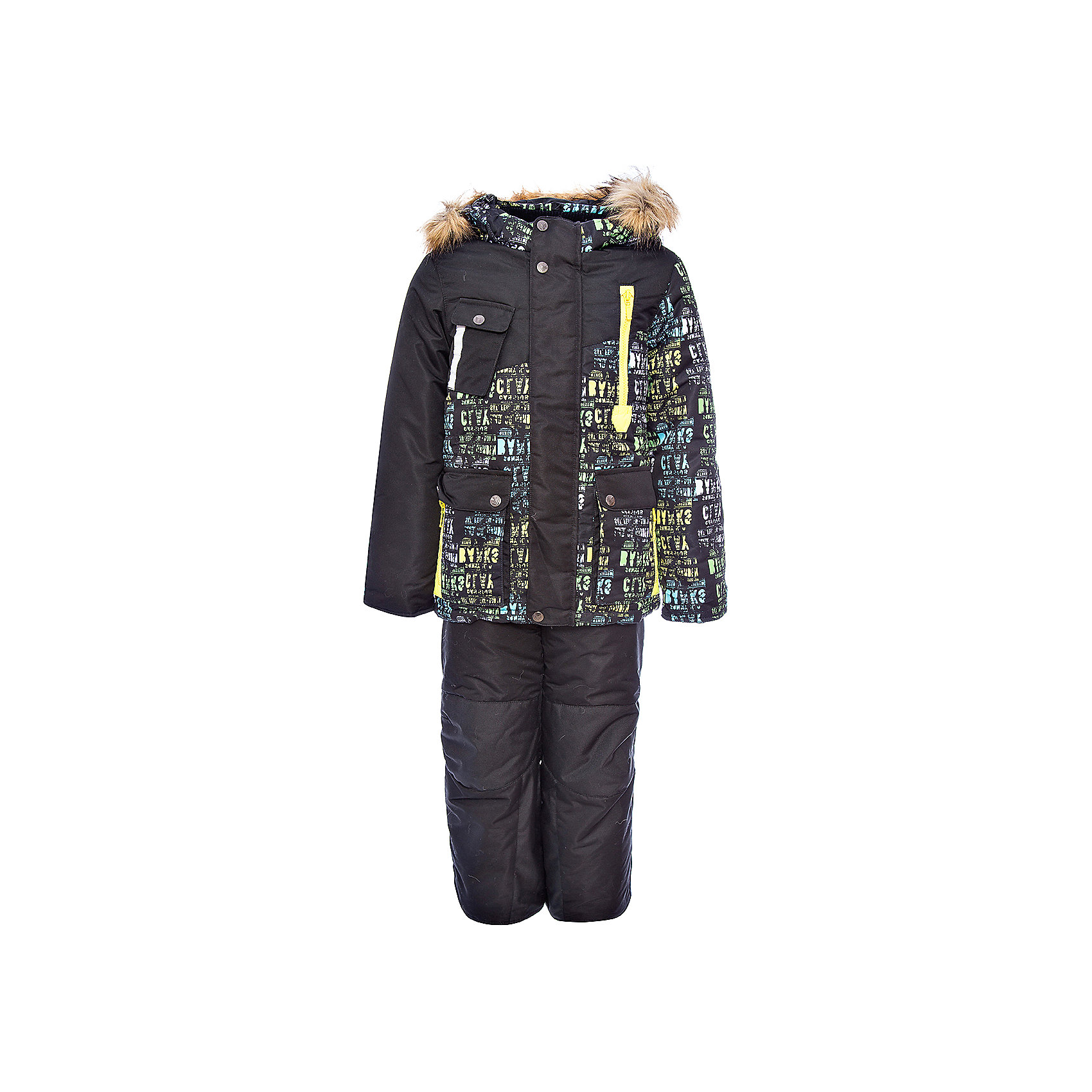 Комплект: куртка и полукомбинезон Ян OLDOS для мальчикаВерхняя одежда<br>Характеристики товара:<br><br>• цвет: черный<br>• комплектация: куртка и полукомбинезон<br>• состав ткани: 100% полиэстер, Teflon<br>• подкладка: хлопок, полиэстер<br>• утеплитель: Hollofan 250/200 г/м2<br>• подстежка: 60% шерсть, 40% полиэстер<br>• сезон: зима<br>• температурный режим: от -35 до 0<br>• застежка: молния<br>• капюшон: с мехом, съемный<br>• подстежка в комплекте<br>• страна бренда: Россия<br>• страна изготовитель: Россия<br><br>Теплый костюм для ребенка выполнен в практичной расцветке. Такой зимний комплект состоит из куртки и удобного полукомбинезона. Наполнитель зимнего комплекта легкий и теплый. Зимний костюм для мальчика дополнен элементами, помогающими скорректировать размер точно под ребенка. <br><br>Комплект: куртка и полукомбинезон Ян Oldos (Олдос) для мальчика можно купить в нашем интернет-магазине.<br><br>Ширина мм: 356<br>Глубина мм: 10<br>Высота мм: 245<br>Вес г: 519<br>Цвет: черный<br>Возраст от месяцев: 96<br>Возраст до месяцев: 108<br>Пол: Мужской<br>Возраст: Детский<br>Размер: 134,104,110,116,122<br>SKU: 7016976