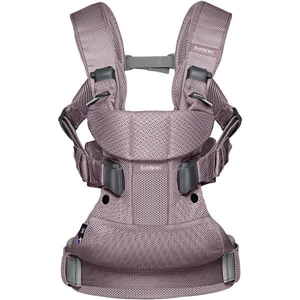Рюкзак-переноска BabyBjorn ONE Mesh, лавандовыйРюкзаки-переноски<br>Характеристики:<br><br>• возраст с рождения до 3 лет;<br>• вес ребенка от 3,5 до 15 кг;<br>• рост ребенка: 52-100 см;<br>• 4 варианта переноски малыша;<br>• удобные плечевые ремни с подкладками;<br>• распределяющий нагрузку поясной ремень;<br>• шлёвки позволяют спрятать лямки плечевых ремней;<br>• подкладка на сиденье;<br>• наружные швы;<br>• регулируемое положение ног ребенка;<br>• жёсткая поддержка для головы;<br>• материал: мягкая дышащая сетчатая ткань;<br>• размер упаковки 33,3х32,3х10,1 см;<br>• вес упаковки 1,25 кг.<br><br>4 способа ношения: <br><br>1 -специальное положение для новорожденных. Имеется специальный адаптер высоты для новорожденного, который обеспечивает правильное положение ребёнка: на груди, близко к сердцу, лицом к вам.  <br>2 - возможность носить ребёнка лицом к себе, <br>3- лицом вперёд, <br>4 - у себя на спине. <br><br>Рюкзак BabyBjorn One Mesh — практичное решение для родителей по переноске новорожденного малыша. Рюкзак был разработан при участии педиатров и учитывает все особенности детского организма. Рюкзак поддерживает спину, голову и шею крохи, обеспечивая ему правильное положение. Сетчатая ткань отличается целым рядом важных характеристик: обеспечивает доступ воздуха, быстро сохнет, долго служит, сохраняет цвет при стирке и достаточно прочна, чтобы гарантировать надёжную поддержку ног, спины, шеи и головы ребёнка. Предусмотрены 4 способа ношения на груди и на спине. До 5 месяцев ребенка рекомендуется носить только лицом к себе, так как его шея, голова и позвоночник еще недостаточно окрепли. После 12 месяцев можно носить ребенка на спине. Поясной ремень плотно фиксирует рюкзак на пояснице, грамотно распределяя тяжесть. Молнии со стопперами исключают непроизвольное открытие под тяжестью ребенка при частом использовании  рюкзака. Внутренняя часть выполнена из мягкого хлопка, который не вызывает у малышей раздражения и аллергических реакций.<br><br>Рюкзак-переноска BabyB