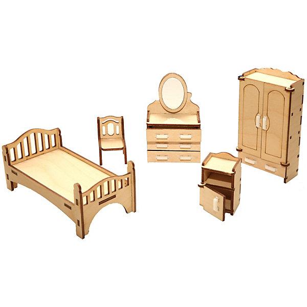 Деревянный набор мебели Happykon СпальняМебель для кукол<br>Характеристики:<br><br>• возраст: от 5 лет<br>• в наборе: кровать 12,5x5x5 см; шкаф 3x6x11,5 см; трюмо с зеркалом 3x6x10 см; тумбочка прикроватная 3x3,2x5 см; стул 3x3x4,5 см.<br>• материал: березовая фанера, пластик<br>• размер упаковки: 19х15х5 см.<br>• вес: 200 гр.<br><br>Набор мебели «Спальня» создан специально для одной из комнат конструктора «Кукольный дом».<br><br>Мебель выполнена из березовой фанеры, но небольшие детали, например, ручки на дверцах, сделаны из пластика. Мебель не имеет заусенцев и острых краев. Все элементы собираются без клея, просто вставляются в пазы, крепление очень прочное и надежное.<br><br>Как и полагается обычной спальне, здесь есть кровать с высокой резной спинкой, прикроватная тумбочка, у которой открывается дверца, трюмо с выдвижными ящичками и зеркалом, а также большой двухстворчатый платяной шкаф с открывающимися дверцами и большим выдвижным ящиком. Мебель выполнена максимально реалистична и похожа на настоящую.<br><br>Деревянный набор мебели Happykon Спальня можно купить в нашем интернет-магазине.<br>Ширина мм: 210; Глубина мм: 150; Высота мм: 40; Вес г: 190; Возраст от месяцев: 60; Возраст до месяцев: 144; Пол: Женский; Возраст: Детский; SKU: 7023765;