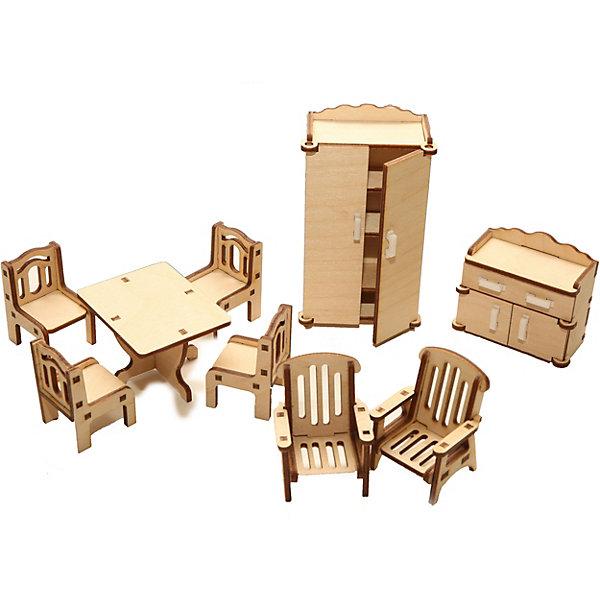 Деревянный набор мебели Happykon ЗалМебель для кукол<br>Характеристики:<br><br>• возраст: от 5 лет<br>• в наборе: стол 5x6 см; 4 стула 3x3x4,5 см; 2 кресла 3,5x4x5 см; шкаф 3x6x11,5 см; тумба по ТВ 3x6x5,5 см.<br>• материал: березовая фанера, пластик<br>• упаковка: картонная коробка<br>• размер упаковки: 18,5х15х4,5 см.<br>• вес: 170 гр.<br><br>Набор мебели «Зал» создан специально для одной из комнат Конструктора «Кукольный дом».<br><br>Мебель выполнена из березовой фанеры, но небольшие элементы, например, ручки на дверцах, сделаны из пластика. Мебель не имеет заусенцев и острых краев. Все детали собираются без клея, просто вставляются в пазы, крепление очень прочное и надежное.<br><br>Гарнитур выполнен максимально реалистично – у большого шкафа распашные дверцы, а внутри три вместительные полки, у тумбы выдвигаются ящички, стулья и кресла имеют красивые резные спинки.<br><br>Деревянный набор мебели Happykon Зал можно купить в нашем интернет-магазине.<br><br>Ширина мм: 210<br>Глубина мм: 150<br>Высота мм: 40<br>Вес г: 190<br>Возраст от месяцев: 60<br>Возраст до месяцев: 144<br>Пол: Женский<br>Возраст: Детский<br>SKU: 7023766