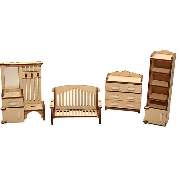 Деревянный набор мебели Happykon ПрихожаяМебель для кукол<br>Характеристики:<br><br>• возраст: от 5 лет<br>• в наборе: вешалка 3x6,5x9 см; шкаф 3x3x11,5 см; комод Зx6x6,5 см; скамейка Зx8x5,5 см.<br>• материал: березовая фанера, пластик<br>• упаковка: картонная коробка<br>• размер упаковки: 18,5х15х4,5 см.<br>• вес: 160 гр.<br><br>Набор мебели «Прихожая» создан специально для одной из комнат Конструктора «Кукольный дом».<br><br>Мебель выполнена из березовой фанеры, но небольшие детали, например, ручки на дверцах, сделаны из пластика. Мебель не имеет заусенцев и острых краев. Все элементы собираются без клея, просто вставляются в пазы, крепление очень прочное и надежное. <br><br>Как и полагается обычной современной прихожей, здесь есть большая вешалка для верхней одежды, вешалка дополнена тумбой, у которой открываются дверцы, есть один выдвижной ящичек и, конечно же, зеркало. Для остальных предметов одежды в этом гарнитуре добавлен большой открытый шкаф с полками и невысокий комод с выдвижными ящиками. Уюта прихожей придает симпатичная скамья с резной спинкой.<br><br>Деревянный набор мебели Happykon Прихожая можно купить в нашем интернет-магазине.<br>Ширина мм: 210; Глубина мм: 150; Высота мм: 40; Вес г: 190; Возраст от месяцев: 60; Возраст до месяцев: 144; Пол: Женский; Возраст: Детский; SKU: 7023767;
