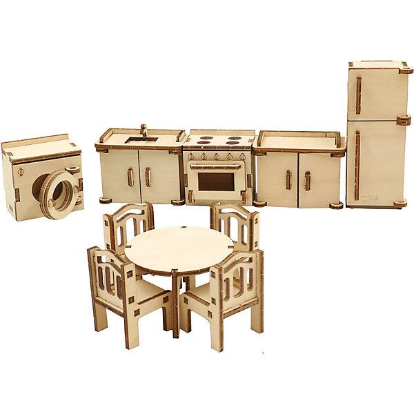 Деревянный набор мебели Happykon КухняМебель для кукол<br>Характеристики:<br><br>• возраст: от 5 лет<br>• в наборе: холодильник 3,2x4x10 см; шкафчик с мойкой 3,2x6x5 см; кухонная плита 3,7x5x5 см; стиральная машина 4x5x5 см; круглый обеденный стол диаметром 6,5 см, высотой 4 см; 4 стула (4 шт) 3x3x4,5 см.<br>• материал: березовая фанера, пластик<br>• упаковка: картонная коробка<br>• размер упаковки: 19х15х5 см.<br>• вес: 225 гр.<br><br>Набор мебели «Кухня» создан специально для одной из комнат Конструктора «Кукольный дом».<br><br>Мебель выполнена из березовой фанеры, но небольшие элементы, например, ручки на дверцах, сделаны из пластика. Мебель не имеет заусенцев и острых краев. Все детали собираются без клея, просто вставляются в пазы, крепление очень прочное и надежное.<br><br>Гарнитур выполнен максимально реалистично – у холодильника и у шкафчиков открываются дверцы, у стиральной машинки открывается люк. Внутри тумбочек есть полки, а стулья украшены резными спинками.<br><br>Деревянный набор мебели Happykon Кухня можно купить в нашем интернет-магазине.<br><br>Ширина мм: 210<br>Глубина мм: 150<br>Высота мм: 40<br>Вес г: 190<br>Возраст от месяцев: 60<br>Возраст до месяцев: 144<br>Пол: Женский<br>Возраст: Детский<br>SKU: 7023768