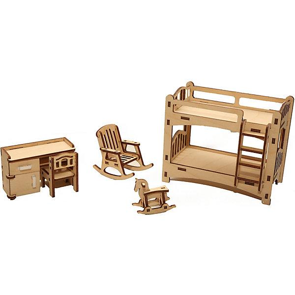 Деревянный набор мебели Happykon ДетскаяМебель для кукол<br>Характеристики:<br><br>• возраст: от 5 лет<br>• в наборе: кровать 6,5x12,5x10,5 см; письменный стол 3x7,5х5 см; стул 3x3x4,5 см; кресло-качалка 6x4x6 см; игрушка 2x4x3,5 см.<br>• материал: березовая фанера, пластик<br>• упаковка: картонная коробка<br>• размер упаковки: 19х15х5 см.<br>• вес: 225 гр.<br><br>Набор мебели «Детская» создан специально для одной из комнат Конструктора «Кукольный дом».<br><br>Мебель выполнена из березовой фанеры, но небольшие элементы, например, ручки на дверцах, сделаны из пластика. Мебель не имеет заусенцев и острых краев. Все детали собираются без клея, просто вставляются в пазы, крепление очень прочное и надежное.<br><br>Гарнитур выполнен максимально реалистично и похож на настоящую мебель в типичной детской комнате. Здесь есть и современная двухъярусная детская кровать с лестницей, и письменный стол со стулом, при этом у стола выдвигается ящик и открывается дверь тумбы. А кресло-качалка и симпатичная игрушка-лошадка придадут комнате уюта.<br><br>Деревянный набор мебели Happykon Детская можно купить в нашем интернет-магазине.<br><br>Ширина мм: 65<br>Глубина мм: 125<br>Высота мм: 105<br>Вес г: 190<br>Возраст от месяцев: 60<br>Возраст до месяцев: 144<br>Пол: Женский<br>Возраст: Детский<br>SKU: 7023769