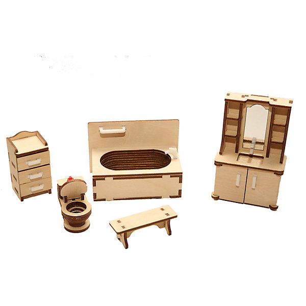 Деревянный набор мебели Happykon ВаннаяМебель для кукол<br>Характеристики:<br><br>• возраст: от 5 лет<br>• в наборе: ванна 9,5x5,5 см; шкаф с умывальником 3x6x10,5 см; унитаз 4,5x2 см; шкафчик Зx3x6 см; скамейка 2x6x2 см.<br>• материал: березовая фанера, пластик<br>• упаковка: картонная коробка<br>• размер упаковки: 19х15х5 см.<br>• вес: 225 гр.<br><br>Набор мебели «Ванная» создан специально для одной из комнат Конструктора «Кукольный дом».<br><br>Мебель выполнена из березовой фанеры, но небольшие детали, например, ручки на дверцах, сделаны из пластика. Мебель не имеет заусенцев и острых краев. Все элементы собираются без клея, просто вставляются в пазы, крепление очень прочное и надежное. <br><br>Как и полагается обычной ванной комнате, здесь есть унитаз, ванна и раковина. Помимо этого, в гарнитур добавлен небольшой шкафчик с выдвижными ящиками и скамейка. А раковина встроена в мойдодыр с распашными дверцами и полочками для банных принадлежностей.<br><br>Деревянный набор мебели Happykon Ванная можно купить в нашем интернет-магазине.<br><br>Ширина мм: 210<br>Глубина мм: 150<br>Высота мм: 40<br>Вес г: 190<br>Возраст от месяцев: 60<br>Возраст до месяцев: 144<br>Пол: Женский<br>Возраст: Детский<br>SKU: 7023770