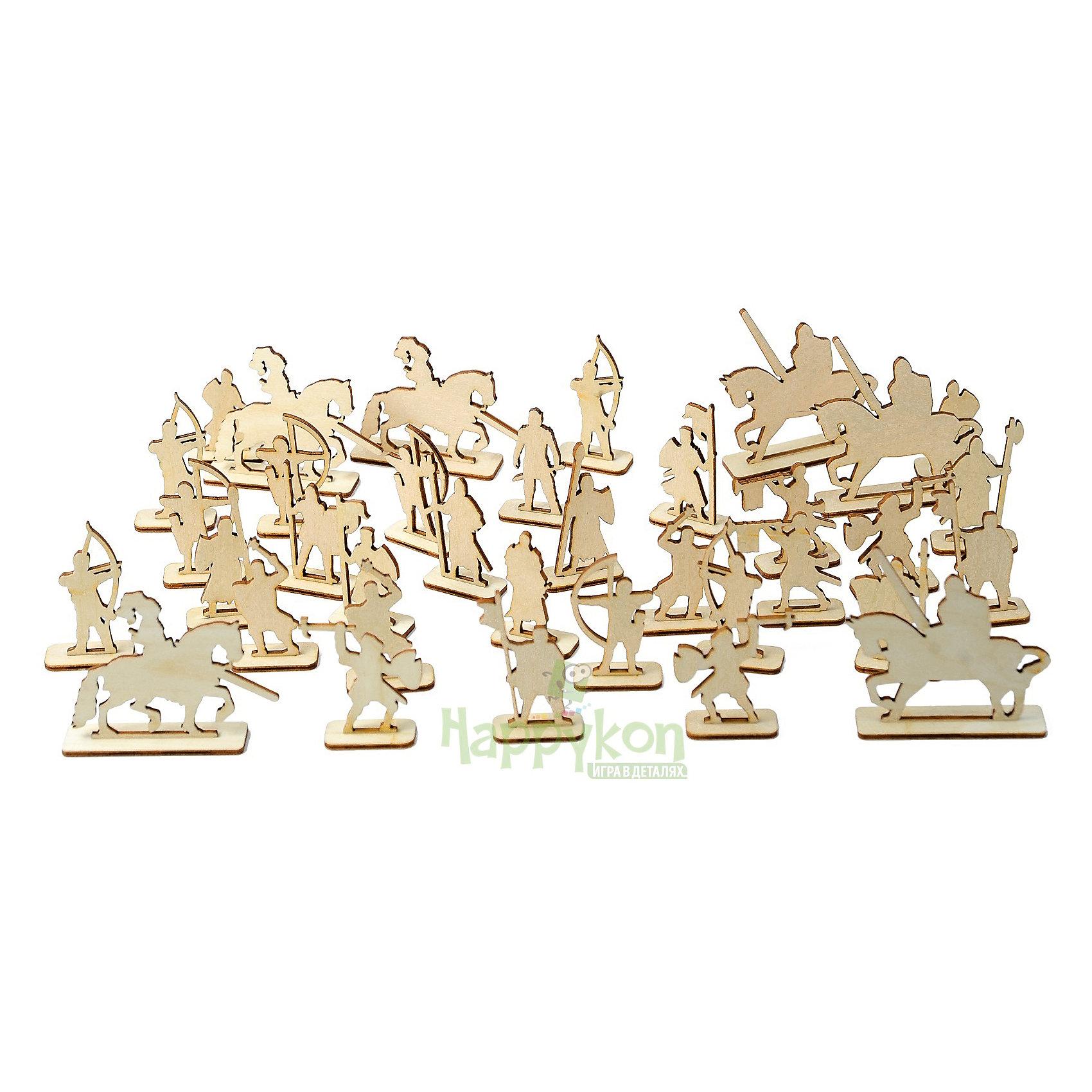 Деревянный набор рыцарей для крепости HappykonСолдатики, люди и рыцари<br>Характеристики:<br><br>• возраст: от 5 лет<br>• количество рыцарей: 36<br>• материал: дерево (фанера)<br>• упаковка: картонная коробка<br>• размер упаковки: 19х15х4,5 см.<br>• вес: 190 гр.<br><br>Набор рыцарей создан специально для конструктора Хэппикон «Крепость».<br><br>В наборе 36 деревянных средневековых воинов наступательной и оборонительной армии. Рыцари собираются без клея из двух деталей подставка и сам рыцарь.<br><br>Рыцари выполнены из отшлифованного дерева. Их можно раскрашивать карандашами и красками.<br><br>Деревянный набор рыцарей для крепости Happykon (Хэппикон) можно купить в нашем интернет-магазине.<br><br>Ширина мм: 79<br>Глубина мм: 3<br>Высота мм: 70<br>Вес г: 149<br>Возраст от месяцев: 60<br>Возраст до месяцев: 144<br>Пол: Мужской<br>Возраст: Детский<br>SKU: 7023772
