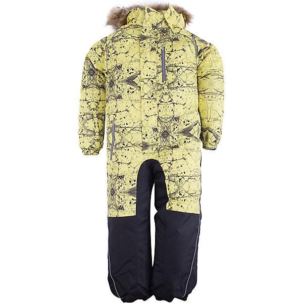 Комбинезон FENNO Huppa для мальчикаВерхняя одежда<br>Характеристики товара:<br><br>• модель: Fenno;<br>• цвет: желтый принт;<br>• пол: мальчик ;<br>• состав: 100% полиэстер;<br>• утеплитель: полиэстер, 300 гр.;<br>• подкладка: тафта/флис;<br>• сезон: зима;<br>• температурный режим: от -5 до - 30С;<br>• водонепроницаемость: 10000 мм  ;<br>• воздухопроницаемость: 10000 г/м2/24ч;<br>• водо- и ветронепроницаемый, дышащий и грязеотталкивающий материал;<br>• особенности модели: c рисунком, с мехом;<br>• капюшон для большего удобства крепится на кнопки и, при необходимости, отстегивается;<br>• искусственный мех на капюшоне съемный ;<br>• cидельный шов, внутренние и боковые швы проклеены и не пропускают влагу;<br>•  cиденье и нижний край брючины выполнены из очень прочной ткани Cordura;<br>• светоотражающих элементов для безопасности в темное время суток ;<br>• внутренний и боковые карманы застегиваются на молнию;<br>• манжеты брюк и рукавов  на резинках;<br>• съемные силиконовые штрипки;<br>• внутренняя регулировка обхвата талии;<br>• страна бренда: Финляндия;<br>• страна изготовитель: Эстония.<br><br>Комбинезон Fenno для мальчика Водо и воздухонепроницаемый. Важный критерий при выборе комбинезона для малыша - это количество утеплителя, ведь малыши еще малоподвижны, поэтому комбинезон должен быть теплым. В модели Fenno  300 грамм утеплителя, которые обеспечат тепло и комфорт ребенку при температуре от -5 до -30 градусов. Подкладка — тафта/флис. <br><br>Функциональные элемент: капюшон отстегивается с помощью кнопок, мех отстегивается, все карманы на молнии, манжеты на резинке,съемные силиконовые штрипки, внутренняя регулировка обхвата талии, светоотражающие элементы.<br><br>Комбинезон Fenno для мальчика  Huppa (Хуппа) можно купить в нашем интернет-магазине.<br><br>Ширина мм: 356<br>Глубина мм: 10<br>Высота мм: 245<br>Вес г: 519<br>Цвет: желтый<br>Возраст от месяцев: 18<br>Возраст до месяцев: 24<br>Пол: Мужской<br>Возраст: Детский<br>Размер: 92,134,128,122,116,110,104,98<br>