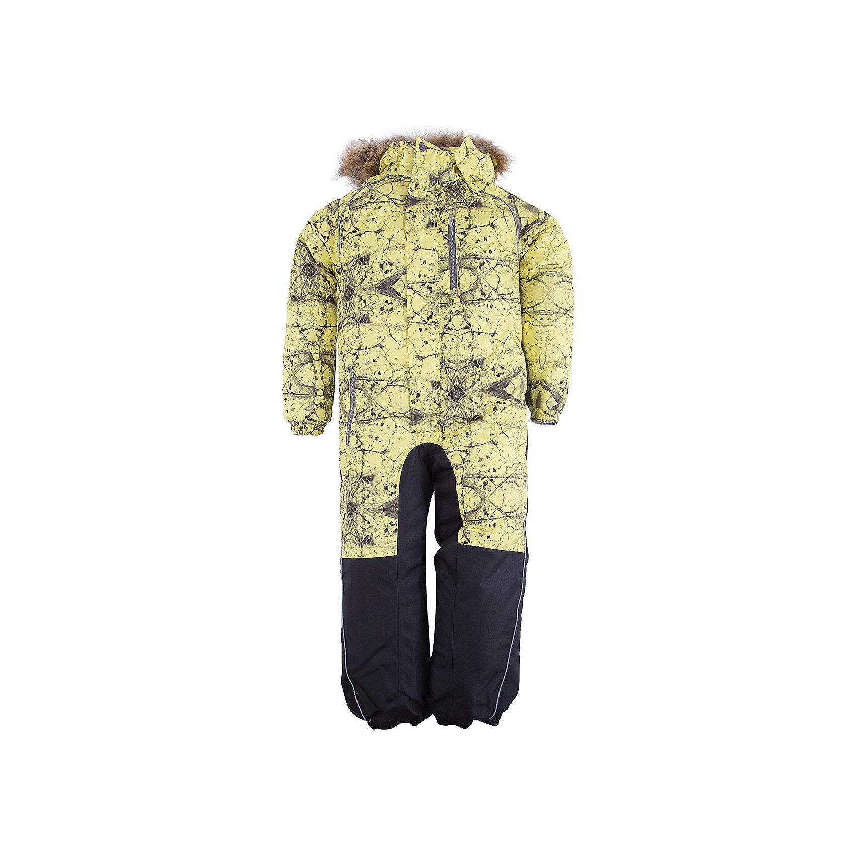 Комбинезон FENNO HuppaВерхняя одежда<br>Характеристики товара:<br><br>• модель: Fenno;<br>• цвет: желтый принт;<br>• пол: мальчик ;<br>• состав: 100% полиэстер;<br>• утеплитель: полиэстер, 300 гр.;<br>• подкладка: тафта/флис;<br>• сезон: зима;<br>• температурный режим: от -5 до - 30С;<br>• водонепроницаемость: 10000 мм  ;<br>• воздухопроницаемость: 10000 г/м2/24ч;<br>• водо- и ветронепроницаемый, дышащий и грязеотталкивающий материал;<br>• особенности модели: c рисунком, с мехом;<br>• капюшон для большего удобства крепится на кнопки и, при необходимости, отстегивается;<br>• искусственный мех на капюшоне съемный ;<br>• cидельный шов, внутренние и боковые швы проклеены и не пропускают влагу;<br>•  cиденье и нижний край брючины выполнены из очень прочной ткани Cordura;<br>• светоотражающих элементов для безопасности в темное время суток ;<br>• внутренний и боковые карманы застегиваются на молнию;<br>• манжеты брюк и рукавов  на резинках;<br>• съемные силиконовые штрипки;<br>• внутренняя регулировка обхвата талии;<br>• страна бренда: Финляндия;<br>• страна изготовитель: Эстония.<br><br>Комбинезон Fenno для мальчика Водо и воздухонепроницаемый. Важный критерий при выборе комбинезона для малыша - это количество утеплителя, ведь малыши еще малоподвижны, поэтому комбинезон должен быть теплым. В модели Fenno  300 грамм утеплителя, которые обеспечат тепло и комфорт ребенку при температуре от -5 до -30 градусов. Подкладка — тафта/флис. <br><br>Функциональные элемент: капюшон отстегивается с помощью кнопок, мех отстегивается, все карманы на молнии, манжеты на резинке,съемные силиконовые штрипки, внутренняя регулировка обхвата талии, светоотражающие элементы.<br><br>Комбинезон Fenno для мальчика  Huppa (Хуппа) можно купить в нашем интернет-магазине.<br><br>Ширина мм: 356<br>Глубина мм: 10<br>Высота мм: 245<br>Вес г: 519<br>Цвет: желтый<br>Возраст от месяцев: 96<br>Возраст до месяцев: 108<br>Пол: Унисекс<br>Возраст: Детский<br>Размер: 134,92,98,104,110,116,122,128<br>SKU: 7024580