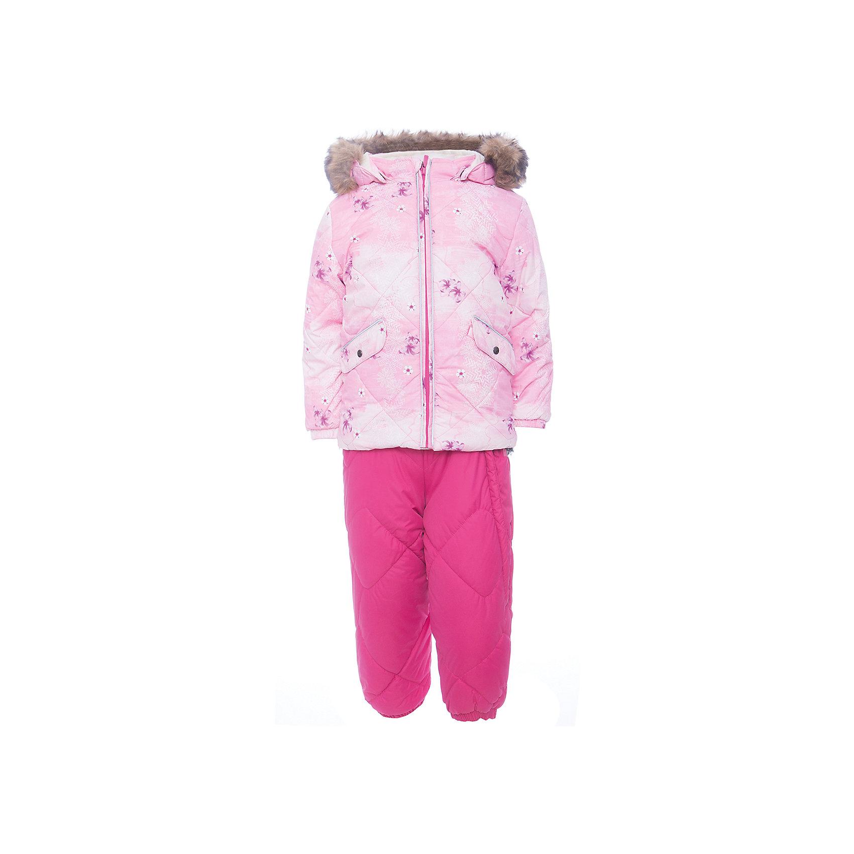 Комплект: куртка и брюки NOELLE 1 HuppaВерхняя одежда<br>Характеристики товара:<br><br>• модель: Noelle 1;<br>• состав: 100% полиэстер;<br>• утеплитель: полиэстер, 300 гр куртка / 160гр брюки;<br>• подкладка: куртка: полиэстер - тафта / полукомбинезон: 100% хлопок - фланель;<br>• сезон: зима;<br>• температурный режим: от -5 до - 30С;<br>• водонепроницаемость: 5000 мм  ;<br>• воздухопроницаемость: 5000 г/м2/24ч;<br>• водо- и ветронепроницаемый, дышащий и грязеотталкивающий материал;<br>• особенности модели: c рисунком; с мехом;<br>• капюшон при необходимости отстегивается;<br>• искусственный мех на капюшоне съемный ;<br>• защита подбородка от защемления;<br>• светоотражающих элементов для безопасности ребенка ;<br>• карманы на кнопках;<br>• манжеты рукавов на резинке; <br>• манжеты брюк на резинках;<br>• съемные силиконовые штрипки;<br>• внутренняя регулировка обхвата талии;<br>• страна бренда: Финляндия;<br>• страна изготовитель: Эстония.<br><br>Зимний комплект Noelle 1 для девочки бренда HUPPA влагонепроницаемый и дышащий. Куртка с утеплителем 300 гр и брюки с утеплителем 160 гр подойдут на температуру от -5 до -30 градусов. Подкладка —фланель - 100% хлопок,тафта.<br><br>Функциональные элементы: Куртка: капюшон отстегивается с помощью кнопок, мех отстегивается, защита подбородка от защемления, мягкая меховая подкладка, карманы на кнопках, манжеты на резинке, светоотражающие элементы. Брюки: регулируемые лямки, удлиненная косая молния, карман без застежек, подол штанин на резинке, съемные силиконовые штрипки, светоотражающие элементы. <br><br>Зимний комплект Noelle 1 для девочки бренда HUPPA  можно купить в нашем интернет-магазине.<br><br>Ширина мм: 356<br>Глубина мм: 10<br>Высота мм: 245<br>Вес г: 519<br>Цвет: розовый<br>Возраст от месяцев: 36<br>Возраст до месяцев: 48<br>Пол: Унисекс<br>Возраст: Детский<br>Размер: 104,80,86,92,98<br>SKU: 7024646
