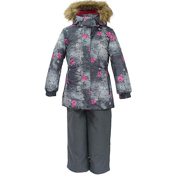 Комплект: куртка и брюки RENELY Huppa для девочкиВерхняя одежда<br>Характеристики товара:<br><br>• модель: Renely;<br>• цвет: серый принт/серый<br>• состав: 100% полиэстер;<br>• утеплитель: нового поколения HuppaTherm, 300/160гр;<br>• подкладка: полиэстер: тафта, pritex;<br>• сезон: зима;<br>• температурный режим: от -5 до - 30С;<br>• водонепроницаемость: куртка 5000 мм / полукомбинезон 10000 мм ;<br>• воздухопроницаемость: куртка 5000 / полукомбинезон 10000 г/м2/24 ч;<br>• влагоустойчивая и дышащая ткань верхнего слоя изделия;<br>• особенности модели: c рисунком; с мехом;<br>• плечевые швы и шаговый шов проклеены водостойкой лентой, для дополнительной защиты от протекания;<br>• мембрана препятствует прохождению воды и ветра сквозь ткань;<br>• в куртке застежка молния, прикрыта планкой;<br>• модель приталенная, сзади встроена резинка в области талии;<br>• воротник стойка и дополнительная липучка на капюшоне хорошо закрывают область шеи;<br>• низ куртки стягивается кулиской, что помогает предотвращать попадание снега внутрь;<br>• в полукомбинезоне застежка молния;<br>• лямки полукомбинезона регулируются при помощи карабинов;<br>• форма брючин прямая, внутри дополнительная штанина на резинке, предотвращает попадание снега внутрь;<br>• низ брюк затягивается на шнурок с фиксатором;<br>• капюшон при необходимости отстегивается;<br>• искусственный мех на капюшоне съемный ;<br>• светоотражающих элементов для безопасности ребенка ;<br>• все карманы застегиваются на молнию;<br>• манжеты рукавов на резинке; <br>• страна бренда: Финляндия;<br>• страна изготовитель: Эстония.<br><br>Зимний комплект Renely для девочки бренда HUPPA  водо воздухонепроницаемый. Утеплитель HuppaTherm - высокотехнологичный легкий синтетический утеплитель нового поколения. Сохраняет объем и высокую теплоизоляцию изделия. Изделия HuppaTherm легкие по весу, комфортные и теплые.<br><br>Мембрана препятствует прохождению воды и ветра сквозь ткань внутрь изделия, позволяя испаряться выделяемой телом, образов