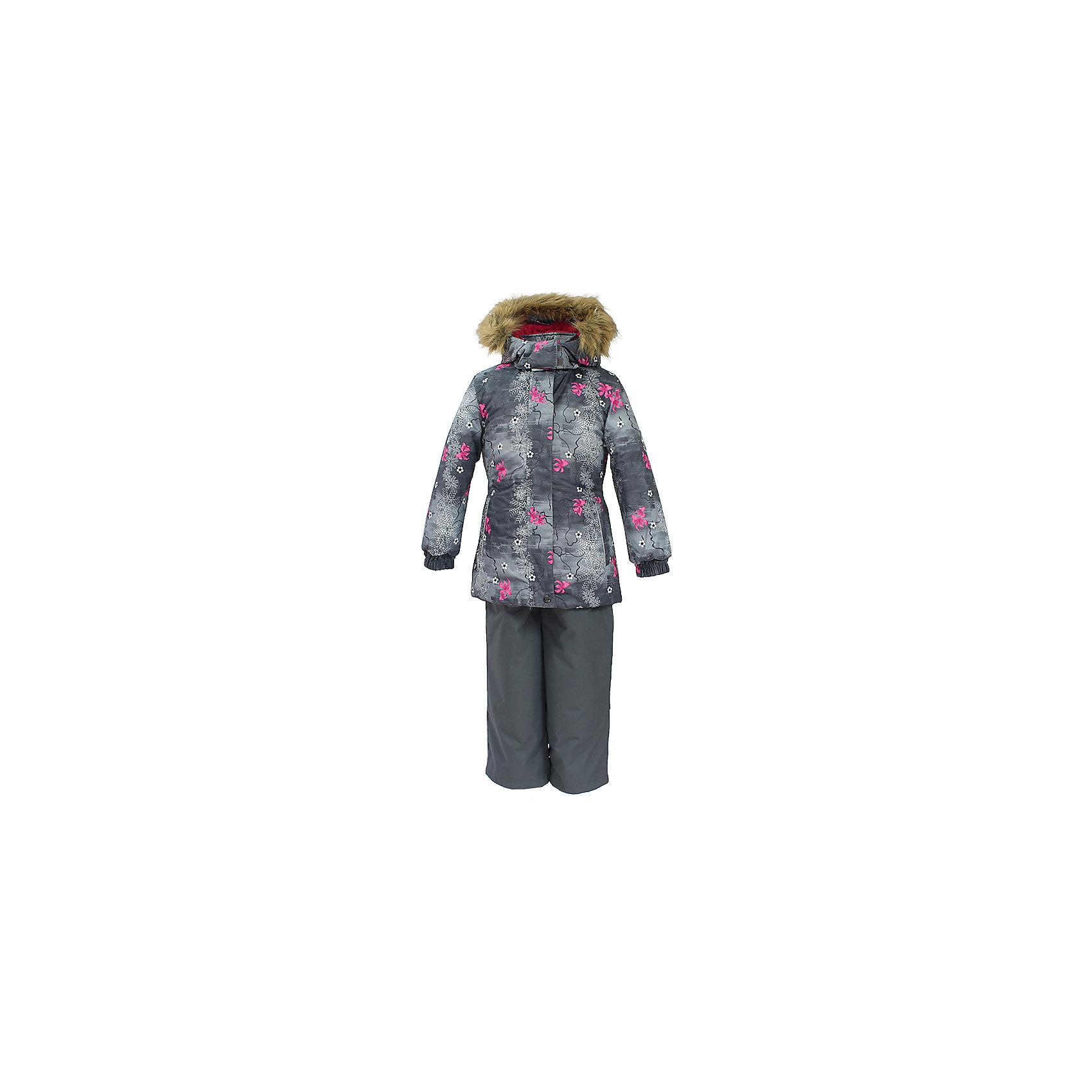 Комплект: куртка и брюки RENELY Huppa для девочкиКомплекты<br>Характеристики товара:<br><br>• модель: Renely;<br>• цвет: серый принт/серый<br>• состав: 100% полиэстер;<br>• утеплитель: нового поколения HuppaTherm, 300/160гр;<br>• подкладка: полиэстер: тафта, pritex;<br>• сезон: зима;<br>• температурный режим: от -5 до - 30С;<br>• водонепроницаемость: куртка 5000 мм / полукомбинезон 10000 мм ;<br>• воздухопроницаемость: куртка 5000 / полукомбинезон 10000 г/м2/24 ч;<br>• влагоустойчивая и дышащая ткань верхнего слоя изделия;<br>• особенности модели: c рисунком; с мехом;<br>• плечевые швы и шаговый шов проклеены водостойкой лентой, для дополнительной защиты от протекания;<br>• мембрана препятствует прохождению воды и ветра сквозь ткань;<br>• в куртке застежка молния, прикрыта планкой;<br>• модель приталенная, сзади встроена резинка в области талии;<br>• воротник стойка и дополнительная липучка на капюшоне хорошо закрывают область шеи;<br>• низ куртки стягивается кулиской, что помогает предотвращать попадание снега внутрь;<br>• в полукомбинезоне застежка молния;<br>• лямки полукомбинезона регулируются при помощи карабинов;<br>• форма брючин прямая, внутри дополнительная штанина на резинке, предотвращает попадание снега внутрь;<br>• низ брюк затягивается на шнурок с фиксатором;<br>• капюшон при необходимости отстегивается;<br>• искусственный мех на капюшоне съемный ;<br>• светоотражающих элементов для безопасности ребенка ;<br>• все карманы застегиваются на молнию;<br>• манжеты рукавов на резинке; <br>• страна бренда: Финляндия;<br>• страна изготовитель: Эстония.<br><br>Зимний комплект Renely для девочки бренда HUPPA  водо воздухонепроницаемый. Утеплитель HuppaTherm - высокотехнологичный легкий синтетический утеплитель нового поколения. Сохраняет объем и высокую теплоизоляцию изделия. Изделия HuppaTherm легкие по весу, комфортные и теплые.<br><br>Мембрана препятствует прохождению воды и ветра сквозь ткань внутрь изделия, позволяя испаряться выделяемой телом, образовывающ