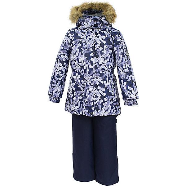 Комплект: куртка и брюки RENELY Huppa для девочкиВерхняя одежда<br>Характеристики товара:<br><br>• модель: Renely;<br>• цвет: черный/серый<br>• состав: 100% полиэстер;<br>• утеплитель: нового поколения HuppaTherm, 300/160гр;<br>• подкладка: полиэстер: тафта, pritex;<br>• сезон: зима;<br>• температурный режим: от -5 до - 30С;<br>• водонепроницаемость: куртка 5000 мм / полукомбинезон 10000 мм ;<br>• воздухопроницаемость: куртка 5000 / полукомбинезон 10000 г/м2/24 ч;<br>• влагоустойчивая и дышащая ткань верхнего слоя изделия;<br>• особенности модели: c рисунком; с мехом;<br>• плечевые швы и шаговый шов проклеены водостойкой лентой, для дополнительной защиты от протекания;<br>• мембрана препятствует прохождению воды и ветра сквозь ткань;<br>• в куртке застежка молния, прикрыта планкой;<br>• модель приталенная, сзади встроена резинка в области талии;<br>• воротник стойка и дополнительная липучка на капюшоне хорошо закрывают область шеи;<br>• низ куртки стягивается кулиской, что помогает предотвращать попадание снега внутрь;<br>• в полукомбинезоне застежка молния;<br>• лямки полукомбинезона регулируются при помощи карабинов;<br>• форма брючин прямая, внутри дополнительная штанина на резинке, предотвращает попадание снега внутрь;<br>• низ брюк затягивается на шнурок с фиксатором;<br>• капюшон при необходимости отстегивается;<br>• искусственный мех на капюшоне съемный ;<br>• светоотражающих элементов для безопасности ребенка ;<br>• все карманы застегиваются на молнию;<br>• манжеты рукавов на резинке; <br>• страна бренда: Финляндия;<br>• страна изготовитель: Эстония.<br><br>Зимний комплект Renely для девочки бренда HUPPA  водо воздухонепроницаемый. Утеплитель HuppaTherm - высокотехнологичный легкий синтетический утеплитель нового поколения. Сохраняет объем и высокую теплоизоляцию изделия. Изделия HuppaTherm легкие по весу, комфортные и теплые.<br><br>Мембрана препятствует прохождению воды и ветра сквозь ткань внутрь изделия, позволяя испаряться выделяемой телом, образовывающ