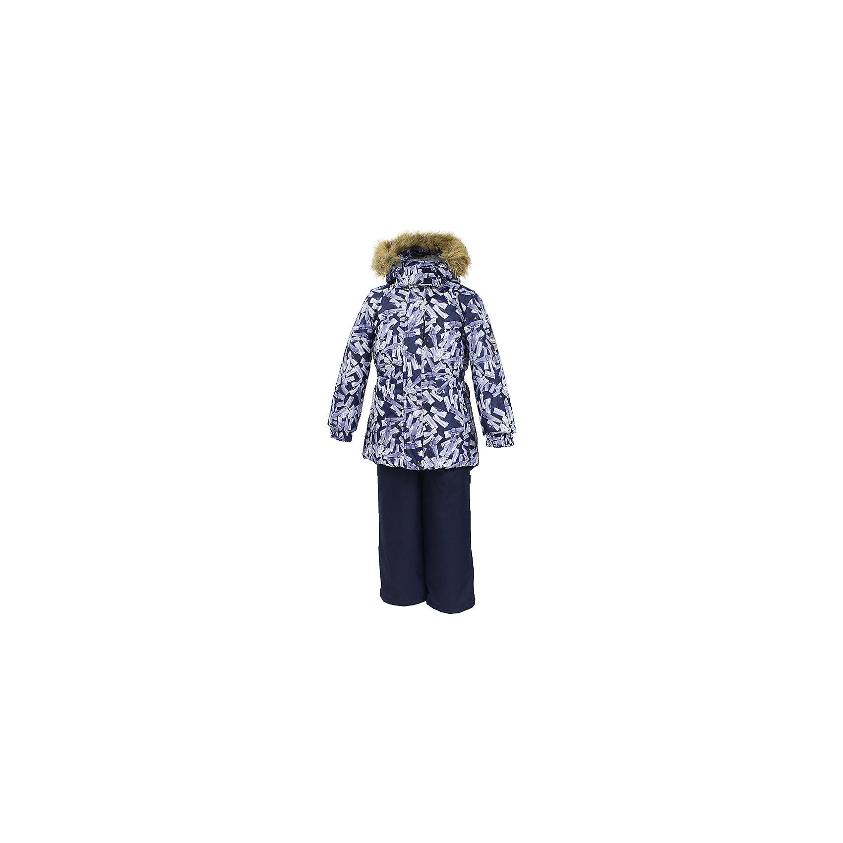 Комплект: куртка и брюки RENELY Huppa для девочкиКомплекты<br>Характеристики товара:<br><br>• модель: Renely;<br>• цвет: черный/серый<br>• состав: 100% полиэстер;<br>• утеплитель: нового поколения HuppaTherm, 300/160гр;<br>• подкладка: полиэстер: тафта, pritex;<br>• сезон: зима;<br>• температурный режим: от -5 до - 30С;<br>• водонепроницаемость: куртка 5000 мм / полукомбинезон 10000 мм ;<br>• воздухопроницаемость: куртка 5000 / полукомбинезон 10000 г/м2/24 ч;<br>• влагоустойчивая и дышащая ткань верхнего слоя изделия;<br>• особенности модели: c рисунком; с мехом;<br>• плечевые швы и шаговый шов проклеены водостойкой лентой, для дополнительной защиты от протекания;<br>• мембрана препятствует прохождению воды и ветра сквозь ткань;<br>• в куртке застежка молния, прикрыта планкой;<br>• модель приталенная, сзади встроена резинка в области талии;<br>• воротник стойка и дополнительная липучка на капюшоне хорошо закрывают область шеи;<br>• низ куртки стягивается кулиской, что помогает предотвращать попадание снега внутрь;<br>• в полукомбинезоне застежка молния;<br>• лямки полукомбинезона регулируются при помощи карабинов;<br>• форма брючин прямая, внутри дополнительная штанина на резинке, предотвращает попадание снега внутрь;<br>• низ брюк затягивается на шнурок с фиксатором;<br>• капюшон при необходимости отстегивается;<br>• искусственный мех на капюшоне съемный ;<br>• светоотражающих элементов для безопасности ребенка ;<br>• все карманы застегиваются на молнию;<br>• манжеты рукавов на резинке; <br>• страна бренда: Финляндия;<br>• страна изготовитель: Эстония.<br><br>Зимний комплект Renely для девочки бренда HUPPA  водо воздухонепроницаемый. Утеплитель HuppaTherm - высокотехнологичный легкий синтетический утеплитель нового поколения. Сохраняет объем и высокую теплоизоляцию изделия. Изделия HuppaTherm легкие по весу, комфортные и теплые.<br><br>Мембрана препятствует прохождению воды и ветра сквозь ткань внутрь изделия, позволяя испаряться выделяемой телом, образовывающейся 