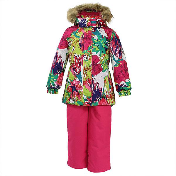 Комплект: куртка и брюки RENELY 1 Huppa для девочкиКомплекты<br>Характеристики товара:<br><br>• модель: Renely 1;<br>• цвет: ягодный принт / фуксия;<br>• состав: 100% полиэстер;<br>• утеплитель: нового поколения HuppaTherm, 300/160гр;<br>• подкладка: полиэстер: тафта, pritex;<br>• сезон: зима;<br>• температурный режим: от -5 до - 30С;<br>• водонепроницаемость: 10000 мм  ;<br>• воздухопроницаемость: 10000 г/м2/24ч;<br>• влагоустойчивая и дышащая ткань верхнего слоя ;<br>• особенности модели: c рисунком; с мехом;<br>• плечевые швы и шаговый шов проклеены водостойкой лентой;<br>• мембрана препятствует прохождению воды и ветра сквозь ткань;<br>• в куртке застежка молния, прикрыта планкой;<br>• сзади встроена резинка в области талии;<br>• воротник стойка и дополнительная липучка на капюшоне хорошо закрывают область шеи;<br>• низ куртки стягивается кулиской, что помогает предотвращать попадание снега внутрь;<br>• эластичные подтяжки регулируются по длине;<br>• форма брючин прямая, внутри дополнительная штанина на резинке, предотвращает попадание снега внутрь;<br>• низ брюк затягивается на шнурок с фиксатором;<br>• капюшон при необходимости отстегивается;<br>• искусственный мех на капюшоне съемный ;<br>• светоотражающих элементов для безопасности ребенка ;<br>• все карманы застегиваются на молнию;<br>• манжеты рукавов на резинке; <br>• страна бренда: Финляндия;<br>• страна изготовитель: Эстония.<br><br>Зимний комплект Renely для девочки бренда HUPPA  водо воздухонепроницаемый. Утеплитель HuppaTherm - высокотехнологичный легкий синтетический утеплитель нового поколения. Сохраняет объем и высокую теплоизоляцию изделия.<br><br>Изделия HuppaTherm легкие по весу, комфортные и теплые.Мембрана препятствует прохождению воды и ветра сквозь ткань внутрь изделия, позволяя испаряться выделяемой телом, образовывающейся внутри влаге.<br>Прочная ткань: сплетения волокон в тканях выполнены по специальной технологии, которая придаёт ткани прочность и предохранят от истирания.<br><br>Зимний