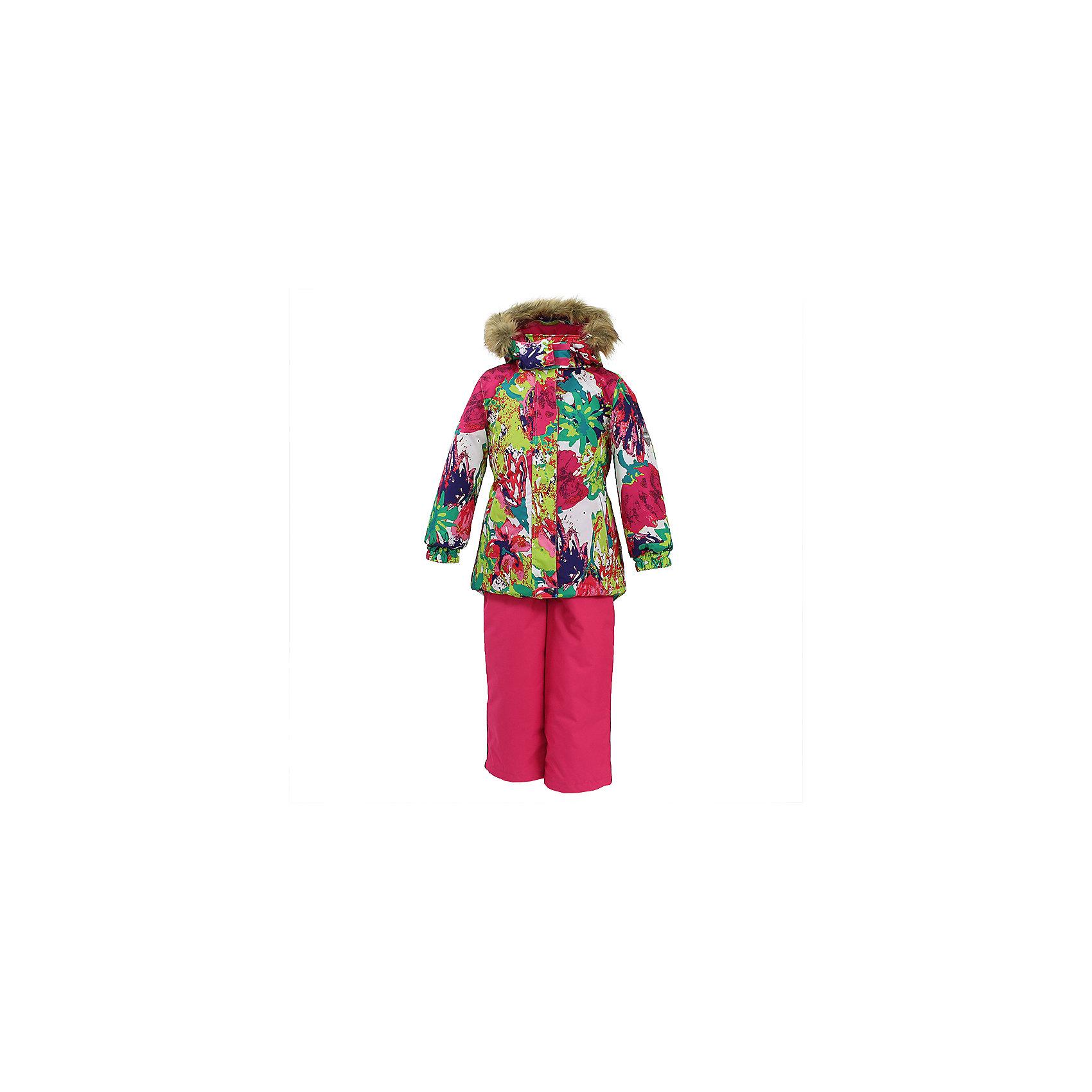 Комплект: куртка и брюки RENELY 1 Huppa для девочкиВерхняя одежда<br>Характеристики товара:<br><br>• модель: Renely 1;<br>• цвет: ягодный принт / фуксия;<br>• состав: 100% полиэстер;<br>• утеплитель: нового поколения HuppaTherm, 300/160гр;<br>• подкладка: полиэстер: тафта, pritex;<br>• сезон: зима;<br>• температурный режим: от -5 до - 30С;<br>• водонепроницаемость: 10000 мм  ;<br>• воздухопроницаемость: 10000 г/м2/24ч;<br>• влагоустойчивая и дышащая ткань верхнего слоя ;<br>• особенности модели: c рисунком; с мехом;<br>• плечевые швы и шаговый шов проклеены водостойкой лентой;<br>• мембрана препятствует прохождению воды и ветра сквозь ткань;<br>• в куртке застежка молния, прикрыта планкой;<br>• сзади встроена резинка в области талии;<br>• воротник стойка и дополнительная липучка на капюшоне хорошо закрывают область шеи;<br>• низ куртки стягивается кулиской, что помогает предотвращать попадание снега внутрь;<br>• эластичные подтяжки регулируются по длине;<br>• форма брючин прямая, внутри дополнительная штанина на резинке, предотвращает попадание снега внутрь;<br>• низ брюк затягивается на шнурок с фиксатором;<br>• капюшон при необходимости отстегивается;<br>• искусственный мех на капюшоне съемный ;<br>• светоотражающих элементов для безопасности ребенка ;<br>• все карманы застегиваются на молнию;<br>• манжеты рукавов на резинке; <br>• страна бренда: Финляндия;<br>• страна изготовитель: Эстония.<br><br>Зимний комплект Renely для девочки бренда HUPPA  водо воздухонепроницаемый. Утеплитель HuppaTherm - высокотехнологичный легкий синтетический утеплитель нового поколения. Сохраняет объем и высокую теплоизоляцию изделия.<br><br>Изделия HuppaTherm легкие по весу, комфортные и теплые.Мембрана препятствует прохождению воды и ветра сквозь ткань внутрь изделия, позволяя испаряться выделяемой телом, образовывающейся внутри влаге.<br>Прочная ткань: сплетения волокон в тканях выполнены по специальной технологии, которая придаёт ткани прочность и предохранят от истирания.<br><br>З