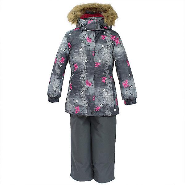 Комплект: куртка и брюки RENELY 1 Huppa для девочкиВерхняя одежда<br>Характеристики товара:<br><br>• модель: Renely 1;<br>• цвет: серый принт/ серый;<br>• состав: 100% полиэстер;<br>• утеплитель: нового поколения HuppaTherm, 300/160гр;<br>• подкладка: полиэстер: тафта, pritex;<br>• сезон: зима;<br>• температурный режим: от -5 до - 30С;<br>• водонепроницаемость: куртка 5000 мм / брюки 10000 мм ;<br>• воздухопроницаемость: куртка 5000 / брюки 10000 г/м2/24 ч;<br>• влагоустойчивая и дышащая ткань верхнего слоя изделия;<br>• особенности модели: c рисунком; с мехом;<br>• плечевые швы и шаговый шов проклеены водостойкой лентой, для дополнительной защиты от протекания;<br>• мембрана препятствует прохождению воды и ветра сквозь ткань внутрь изделия, позволяя испаряться выделяемой телом, образовывающейся внутри влаге;<br>• в куртке застежка молния, прикрыта планкой;<br>• модель приталенная, сзади встроена резинка в области талии;<br>• воротник стойка и дополнительная липучка на капюшоне хорошо закрывают область шеи;<br>• низ куртки стягивается кулиской, что помогает предотвращать попадание снега внутрь;<br>• эластичные подтяжки регулируются по длине;<br>• форма брючин прямая, внутри дополнительная штанина на резинке, предотвращает попадание снега внутрь;<br>• низ брюк затягивается на шнурок с фиксатором;<br>• капюшон при необходимости отстегивается;<br>• искусственный мех на капюшоне съемный ;<br>• светоотражающих элементов для безопасности ребенка ;<br>• все карманы застегиваются на молнию;<br>• манжеты рукавов на резинке; <br>• страна бренда: Финляндия;<br>• страна изготовитель: Эстония.<br><br>Зимний комплект Renely HUPPA  водо воздухонепроницаемый. Утеплитель HuppaTherm - высокотехнологичный легкий синтетический утеплитель нового поколения. Сохраняет объем и высокую теплоизоляцию изделия. Легко стирается и быстро сохнет. <br><br>Изделия HuppaTherm легкие по весу, комфортные и теплые.Мембрана препятствует прохождению воды и ветра сквозь ткань внутрь изделия, позволяя испа