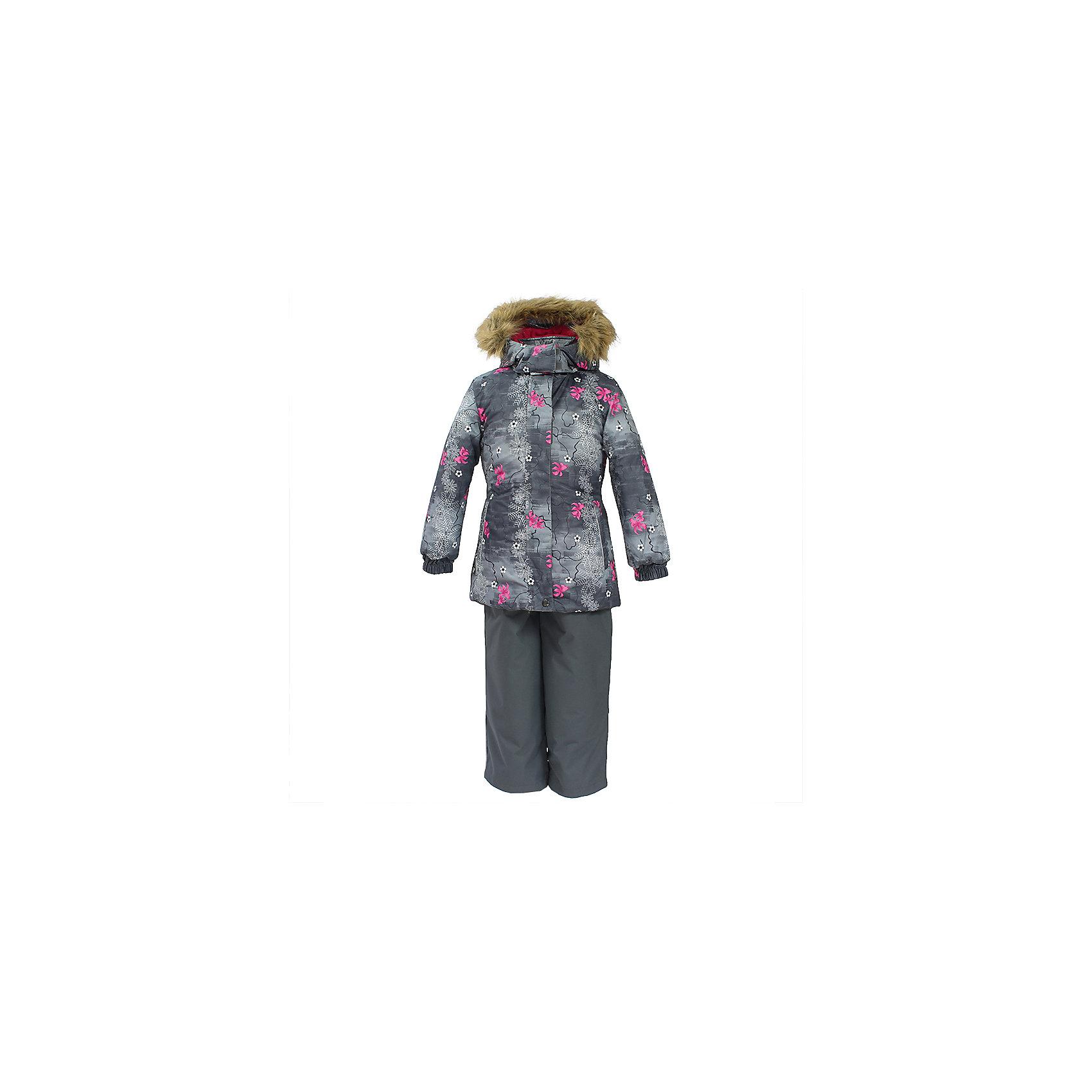 Комплект: куртка и брюки RENELY 1 Huppa для девочкиКомплекты<br>Характеристики товара:<br><br>• модель: Renely 1;<br>• цвет: серый принт/ серый;<br>• состав: 100% полиэстер;<br>• утеплитель: нового поколения HuppaTherm, 300/160гр;<br>• подкладка: полиэстер: тафта, pritex;<br>• сезон: зима;<br>• температурный режим: от -5 до - 30С;<br>• водонепроницаемость: куртка 5000 мм / брюки 10000 мм ;<br>• воздухопроницаемость: куртка 5000 / брюки 10000 г/м2/24 ч;<br>• влагоустойчивая и дышащая ткань верхнего слоя изделия;<br>• особенности модели: c рисунком; с мехом;<br>• плечевые швы и шаговый шов проклеены водостойкой лентой, для дополнительной защиты от протекания;<br>• мембрана препятствует прохождению воды и ветра сквозь ткань внутрь изделия, позволяя испаряться выделяемой телом, образовывающейся внутри влаге;<br>• в куртке застежка молния, прикрыта планкой;<br>• модель приталенная, сзади встроена резинка в области талии;<br>• воротник стойка и дополнительная липучка на капюшоне хорошо закрывают область шеи;<br>• низ куртки стягивается кулиской, что помогает предотвращать попадание снега внутрь;<br>• эластичные подтяжки регулируются по длине;<br>• форма брючин прямая, внутри дополнительная штанина на резинке, предотвращает попадание снега внутрь;<br>• низ брюк затягивается на шнурок с фиксатором;<br>• капюшон при необходимости отстегивается;<br>• искусственный мех на капюшоне съемный ;<br>• светоотражающих элементов для безопасности ребенка ;<br>• все карманы застегиваются на молнию;<br>• манжеты рукавов на резинке; <br>• страна бренда: Финляндия;<br>• страна изготовитель: Эстония.<br><br>Зимний комплект Renely HUPPA  водо воздухонепроницаемый. Утеплитель HuppaTherm - высокотехнологичный легкий синтетический утеплитель нового поколения. Сохраняет объем и высокую теплоизоляцию изделия. Легко стирается и быстро сохнет. <br><br>Изделия HuppaTherm легкие по весу, комфортные и теплые.Мембрана препятствует прохождению воды и ветра сквозь ткань внутрь изделия, позволяя испарятьс