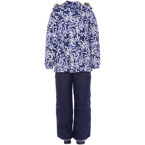 Комплект: куртка и брюки RENELY 1 Huppa для девочкиВерхняя одежда<br>Характеристики товара:<br><br>• модель: Renely 1;<br>• цвет: черый/ серый;<br>• состав: 100% полиэстер;<br>• утеплитель: нового поколения HuppaTherm, 300/160гр;<br>• подкладка: полиэстер: тафта, pritex;<br>• сезон: зима;<br>• температурный режим: от -5 до - 30С;<br>• водонепроницаемость: куртка 5000 мм / брюки 10000 мм ;<br>• воздухопроницаемость: куртка 5000 / брюки 10000 г/м2/24 ч;<br>• влагоустойчивая и дышащая ткань верхнего слоя;<br>• особенности модели: c рисунком; с мехом;<br>• плечевые швы и шаговый шов проклеены водостойкой лентой, для дополнительной защиты от протекания;<br>• мембрана препятствует прохождению воды и ветра сквозь ткань внутрь изделия, позволяя испаряться выделяемой телом, образовывающейся внутри влаге;<br>• в куртке застежка молния, прикрыта планкой;<br>• модель приталенная, сзади встроена резинка в области талии;<br>• воротник стойка и дополнительная липучка на капюшоне хорошо закрывают область шеи;<br>• низ куртки стягивается кулиской, что помогает предотвращать попадание снега внутрь;<br>• эластичные подтяжки регулируются по длине;<br>• форма брючин прямая, внутри дополнительная штанина на резинке, предотвращает попадание снега внутрь;<br>• низ брюк затягивается на шнурок с фиксатором;<br>• капюшон при необходимости отстегивается;<br>• искусственный мех на капюшоне съемный ;<br>• светоотражающих элементов для безопасности ребенка ;<br>• все карманы застегиваются на молнию;<br>• манжеты рукавов на резинке; <br>• страна бренда: Финляндия;<br>• страна изготовитель: Эстония.<br><br>Зимний комплект Renely для девочки бренда HUPPA  водо воздухонепроницаемый. Утеплитель HuppaTherm - высокотехнологичный легкий синтетический утеплитель нового поколения. Сохраняет объем и высокую теплоизоляцию изделия. Легко стирается и быстро сохнет. Изделия HuppaTherm легкие по весу, комфортные и теплые.<br><br>Мембрана препятствует прохождению воды и ветра сквозь ткань внутрь изделия, позволяя